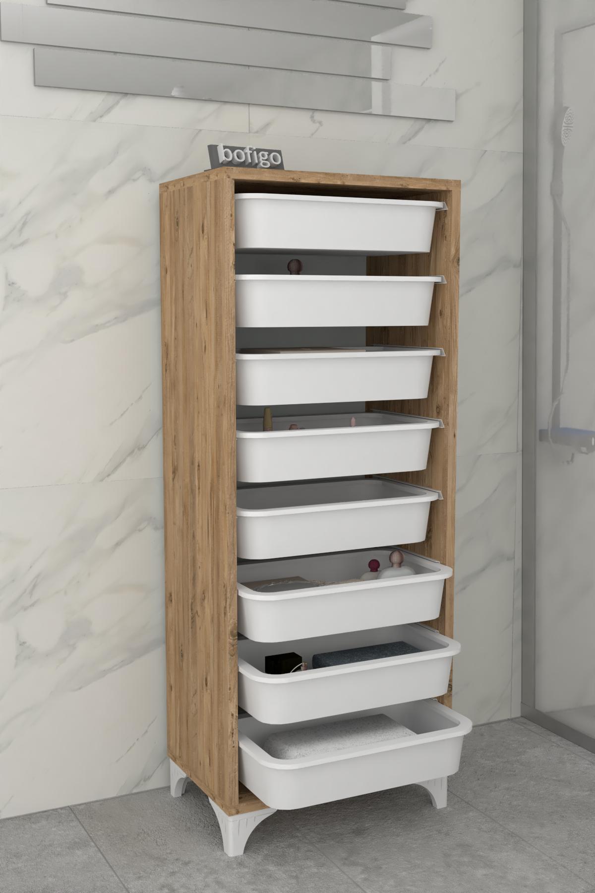 Bofigo 8 Basket Kitchen Cabinet Multi-Purpose Cabinet Crisper Pine