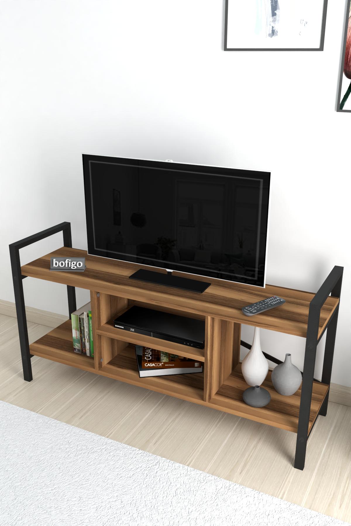 Bofigo TV Sehpası Raflı TV Ünitesi Televizyon Sehpası Ceviz