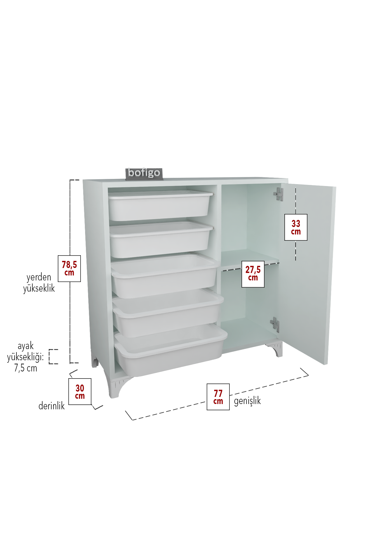 Bofigo Kitchen Cabinet with 5 Baskets Multi-Purpose Cupboard Crisper White