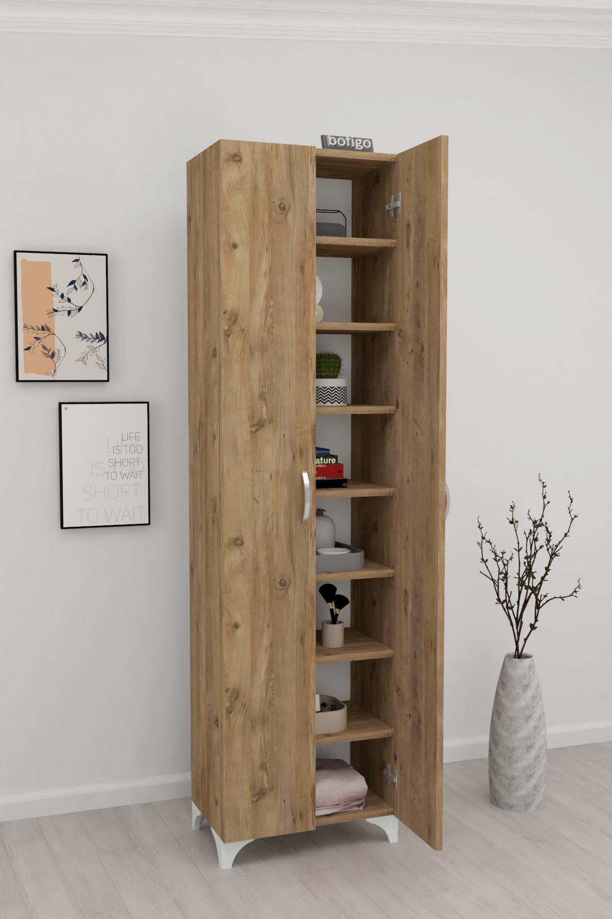 Bofigo 8 Shelves 2 Doors Multi-Purpose Cabinet Pine