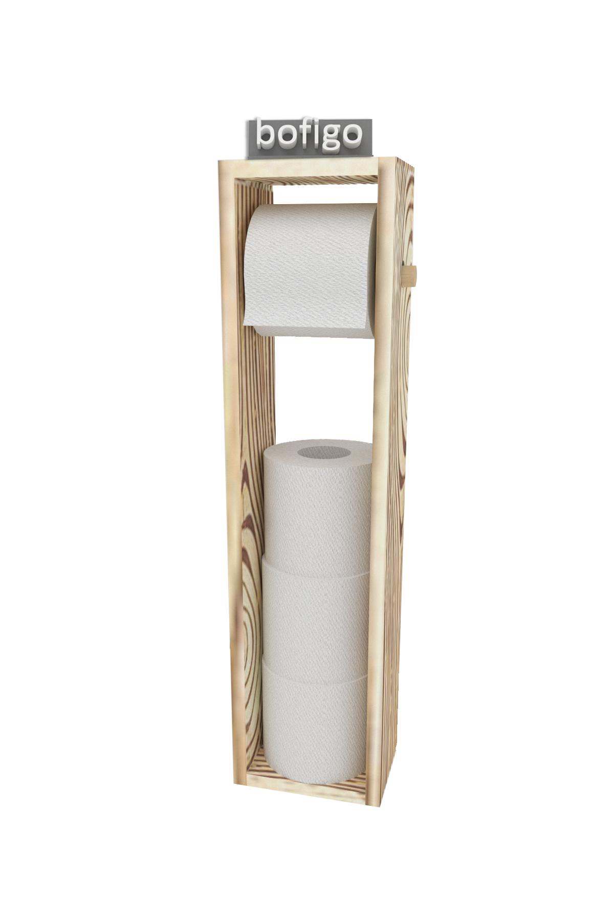 Bofigo Toilet Paper Holder WC Paper Holder Wooden Toilet Paper Holder