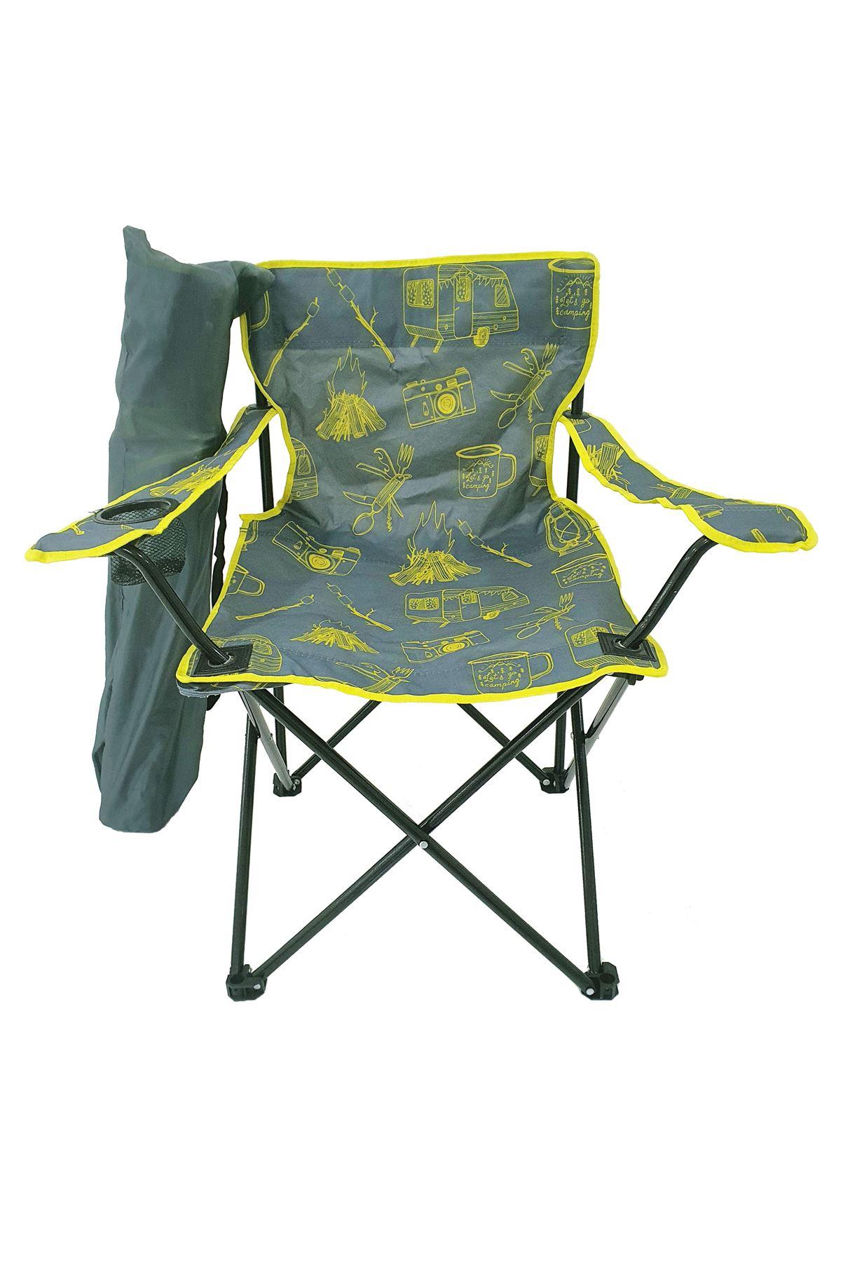 Bofigo Camping Chair Folding Chair Garden Chair Picnic Beach Balcony Chair Patterned Gray