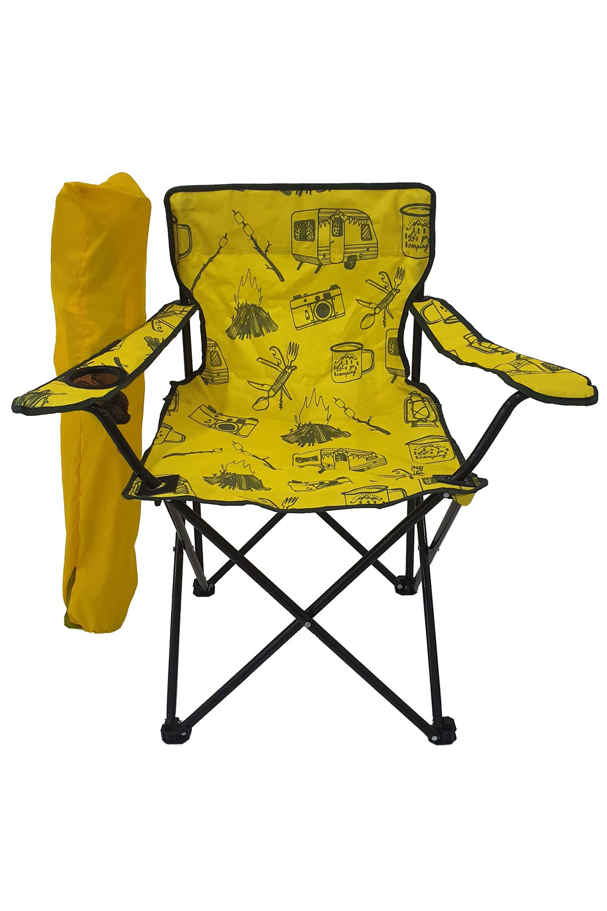 Bofigo Camping Chair Folding Chair Garden Chair Picnic Beach Balcony Chair Patterned Yellow