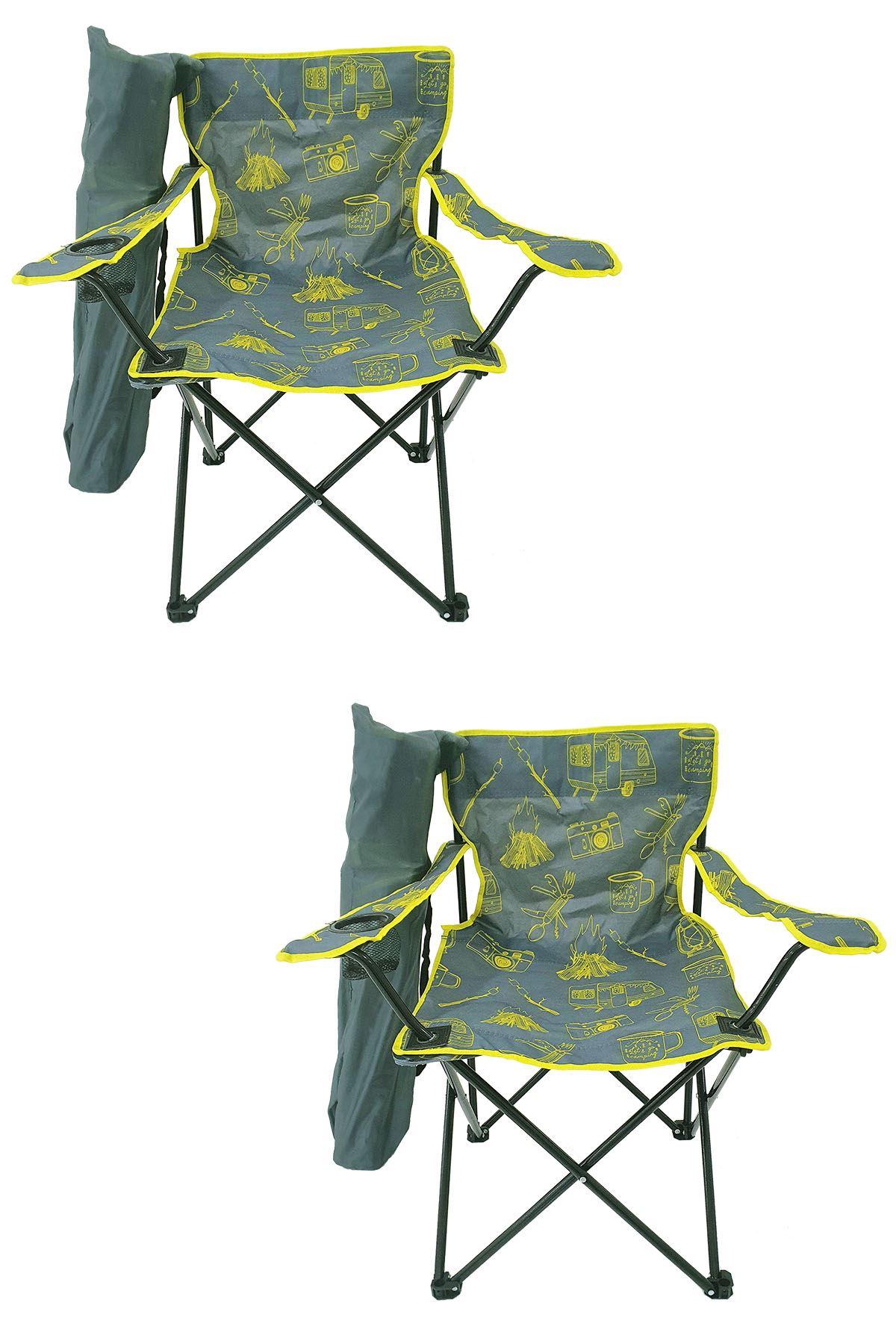 Bofigo 2 Pieces Camping Chair Folding Chair Garden Chair Picnic Beach Chair Patterned Gray