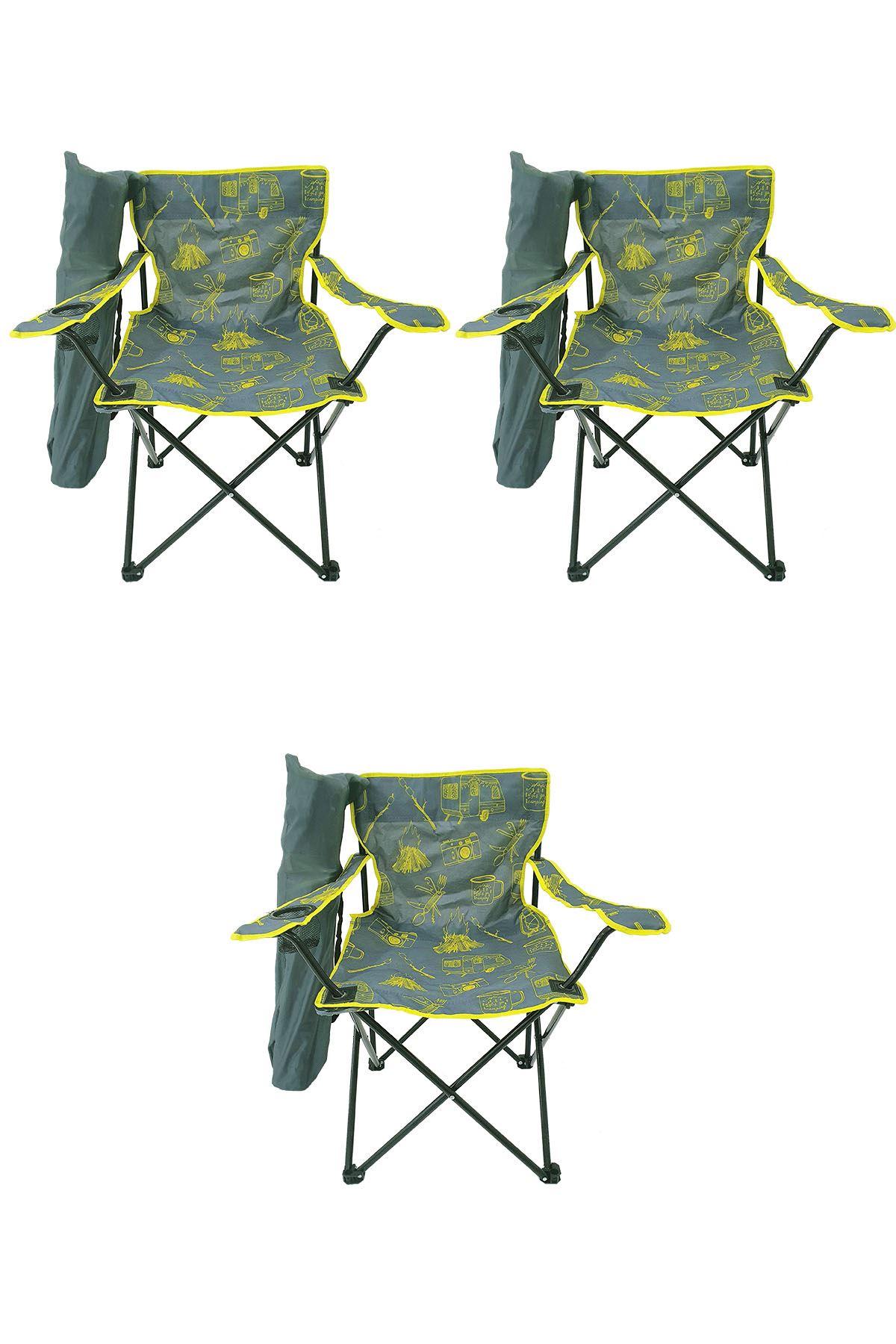Bofigo 3 Pcs Camping Chair Folding Chair Garden Chair Picnic Beach Chair Patterned Gray