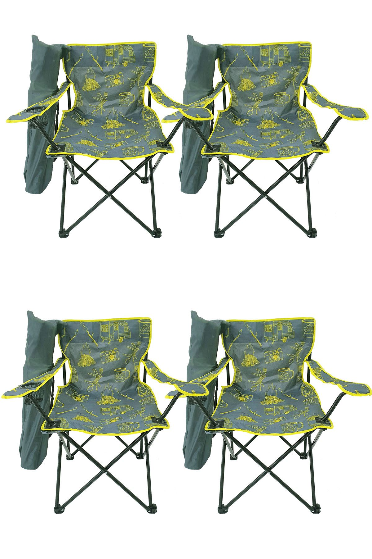 Bofigo 4 Pcs Camping Chair Folding Chair Garden Chair Picnic Beach Chair Patterned Gray