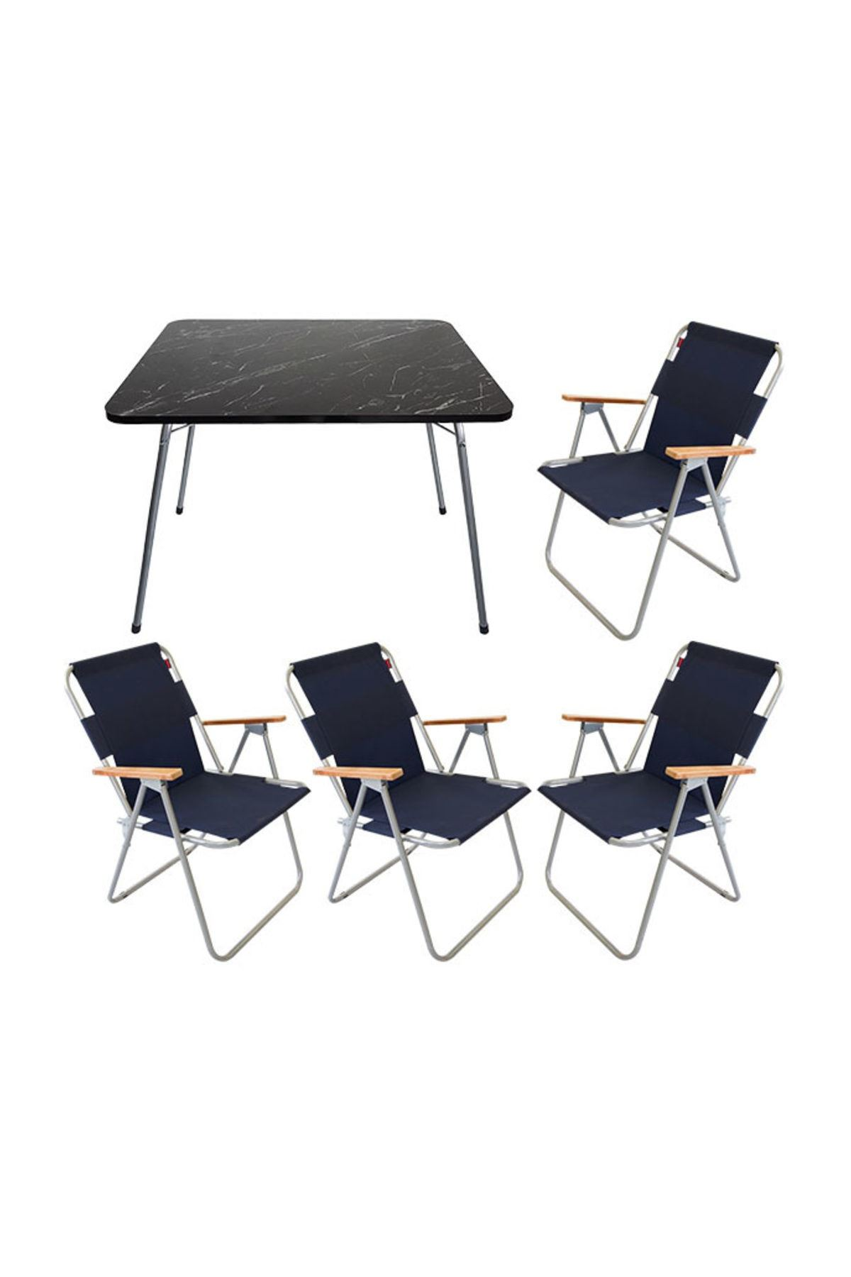 Bofigo 60x80 Granit Katlanır Masa + 4 Adet Katlanır Sandalye Kamp Seti Bahçe Balkon Takımı Lacivert