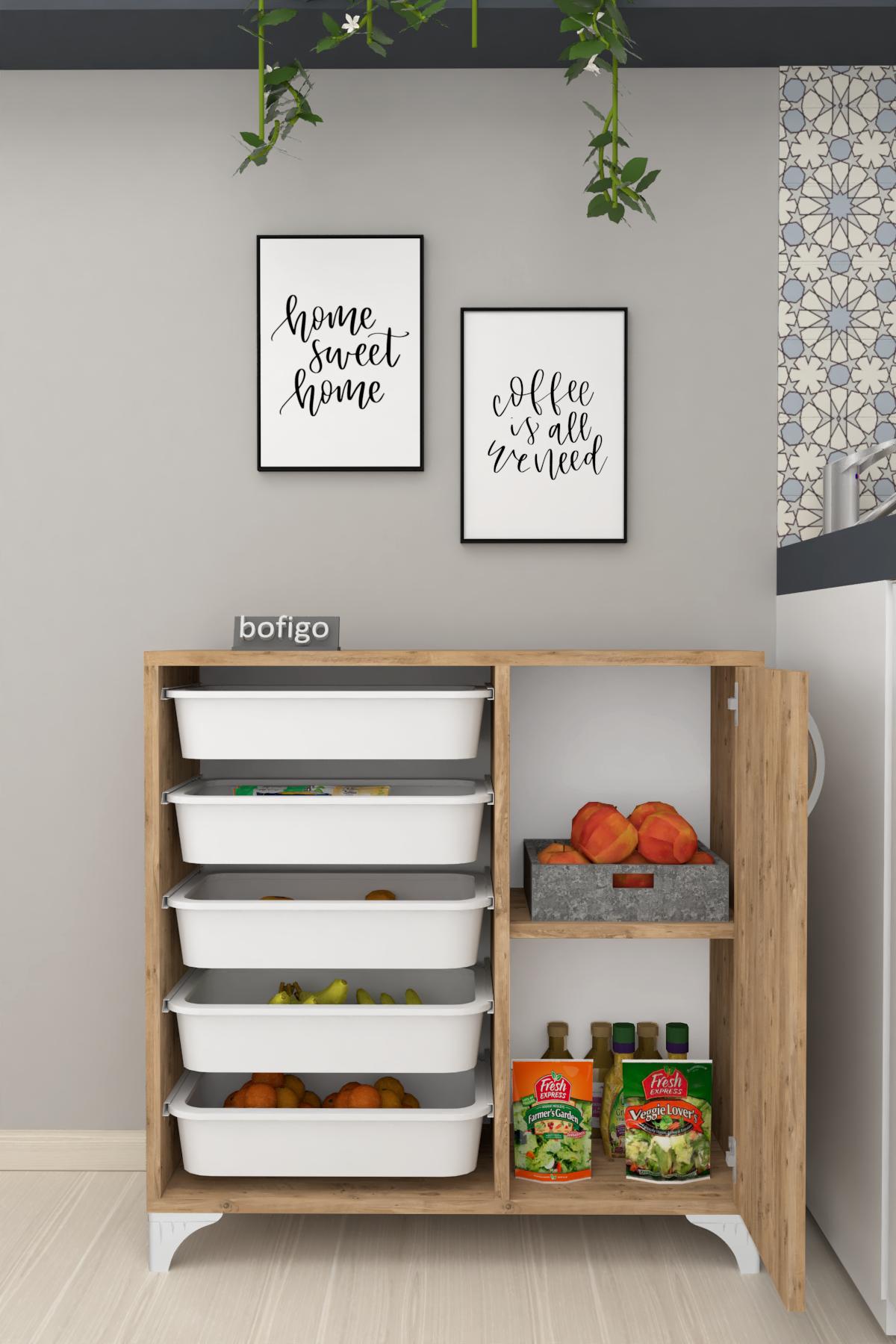 Bofigo 5 Basket Kitchen Cabinet Multi-Purpose Cabinet Crisper Pine