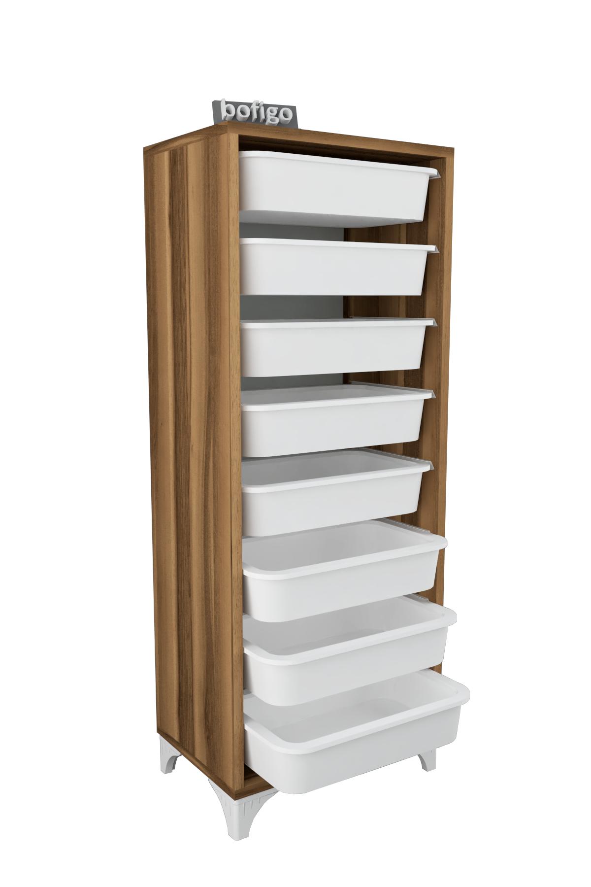 Bofigo 8 Basket Kitchen Cabinet Multi-Purpose Cupboard Crisper Walnut