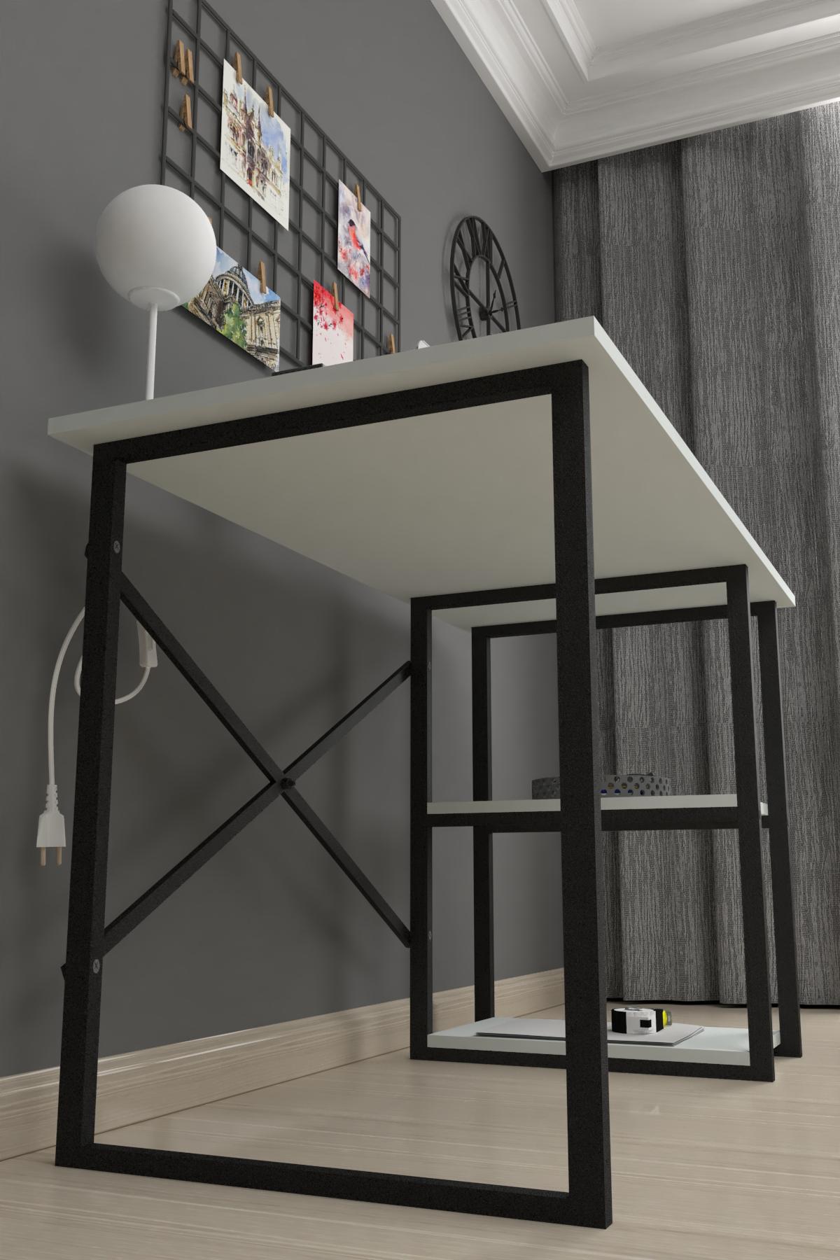 Bofigo 2 Raflı Çalışma Masası 60x120 cm Beyaz
