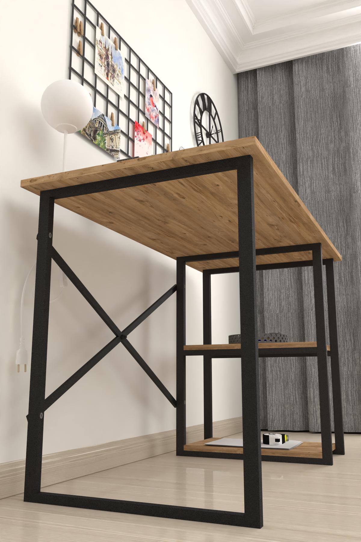 Bofigo 2 Raflı Çalışma Masası 60x120 cm Çam