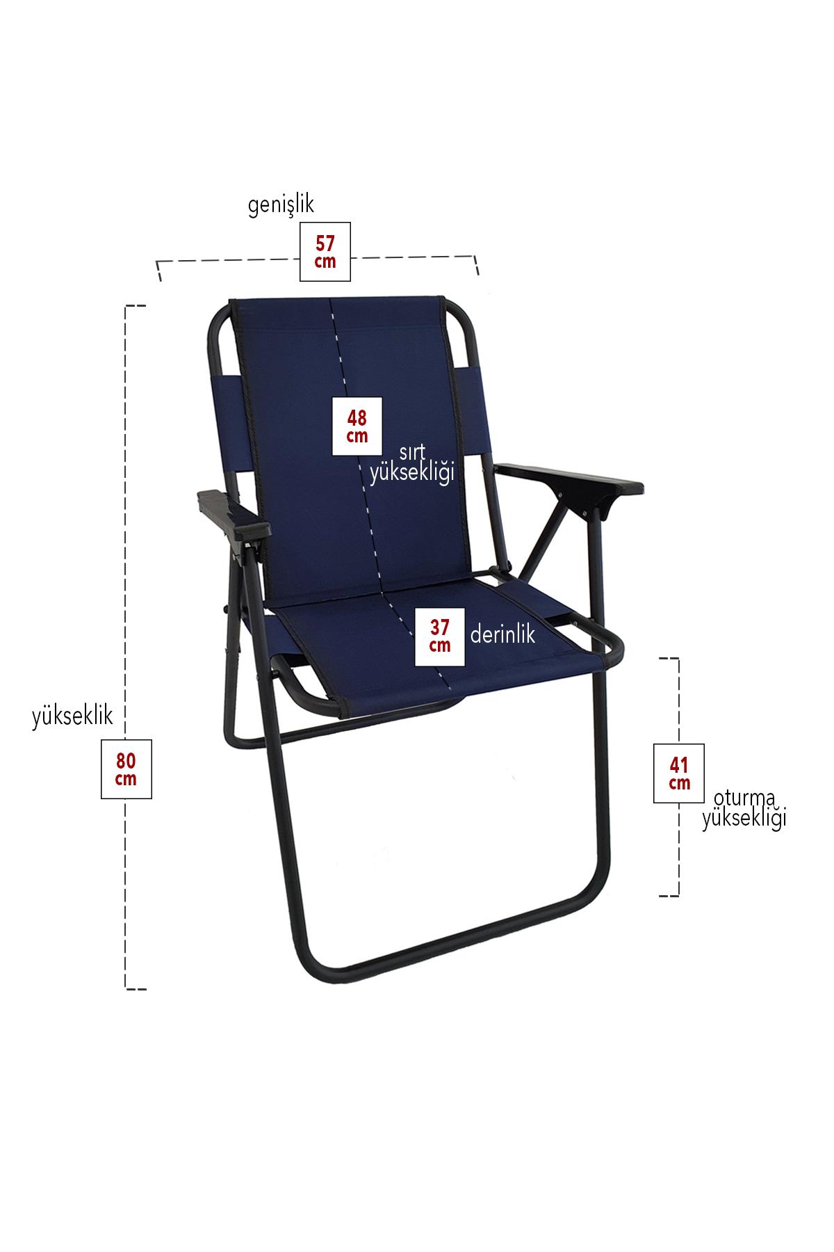 Bofigo 4 Adet Kamp Sandalyesi Katlanır Sandalye Piknik Sandalyesi Plaj Sandalyesi Lacivert