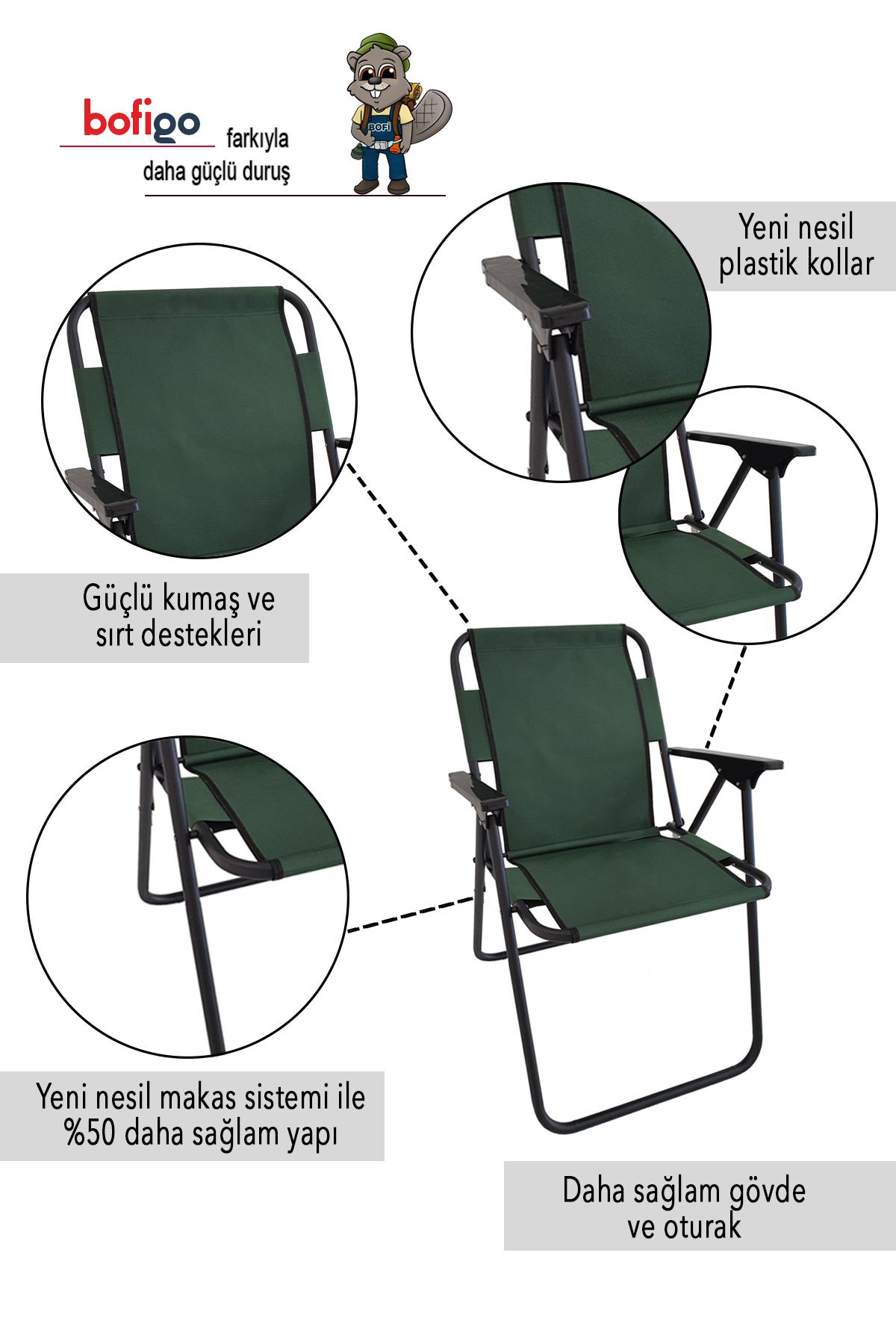 Bofigo 3 Pcs Camping Chair Folding Chair Picnic Chair Beach Chair Green