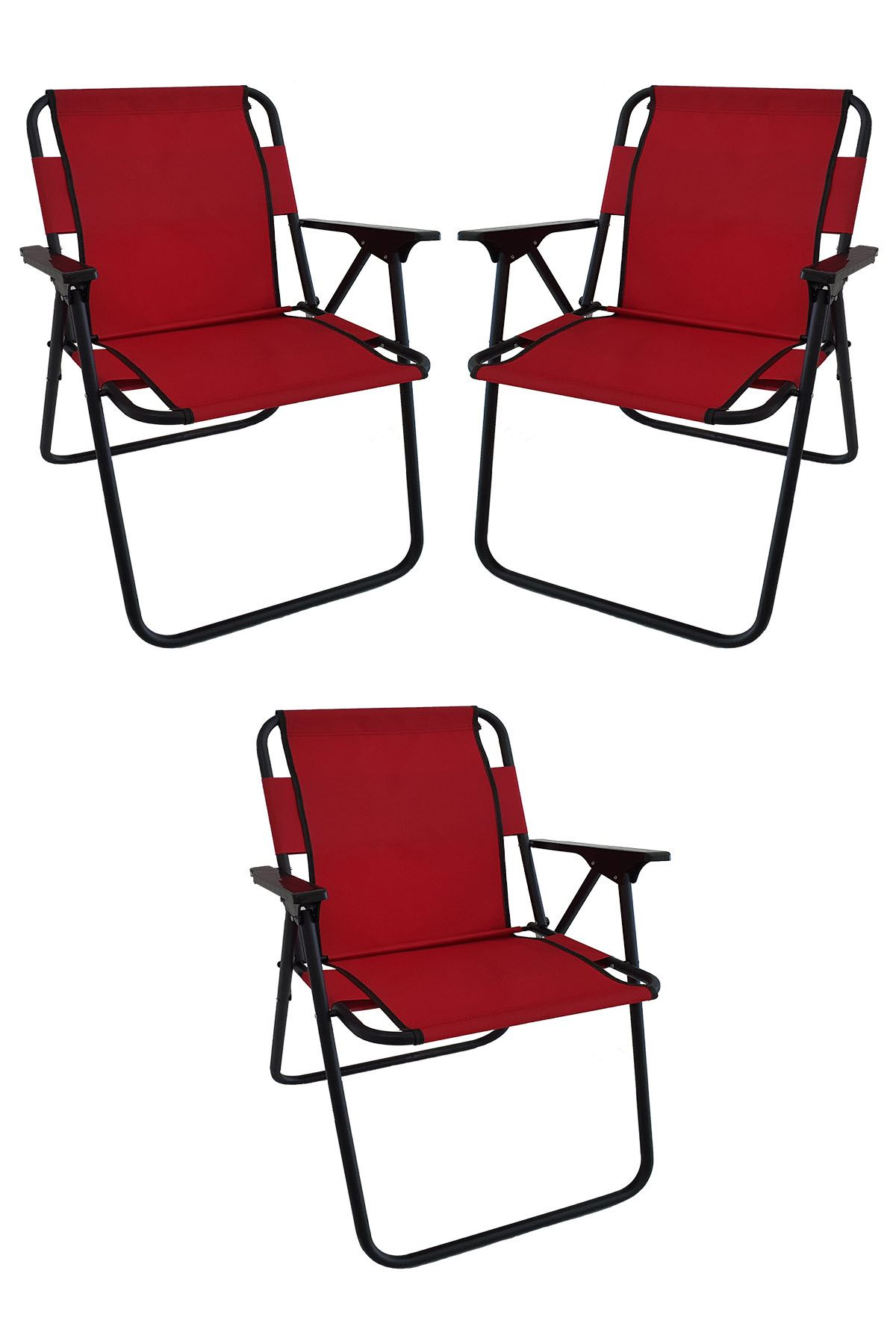 Bofigo 3 Pcs Camping Chair Folding Chair Picnic Chair Beach Chair Red