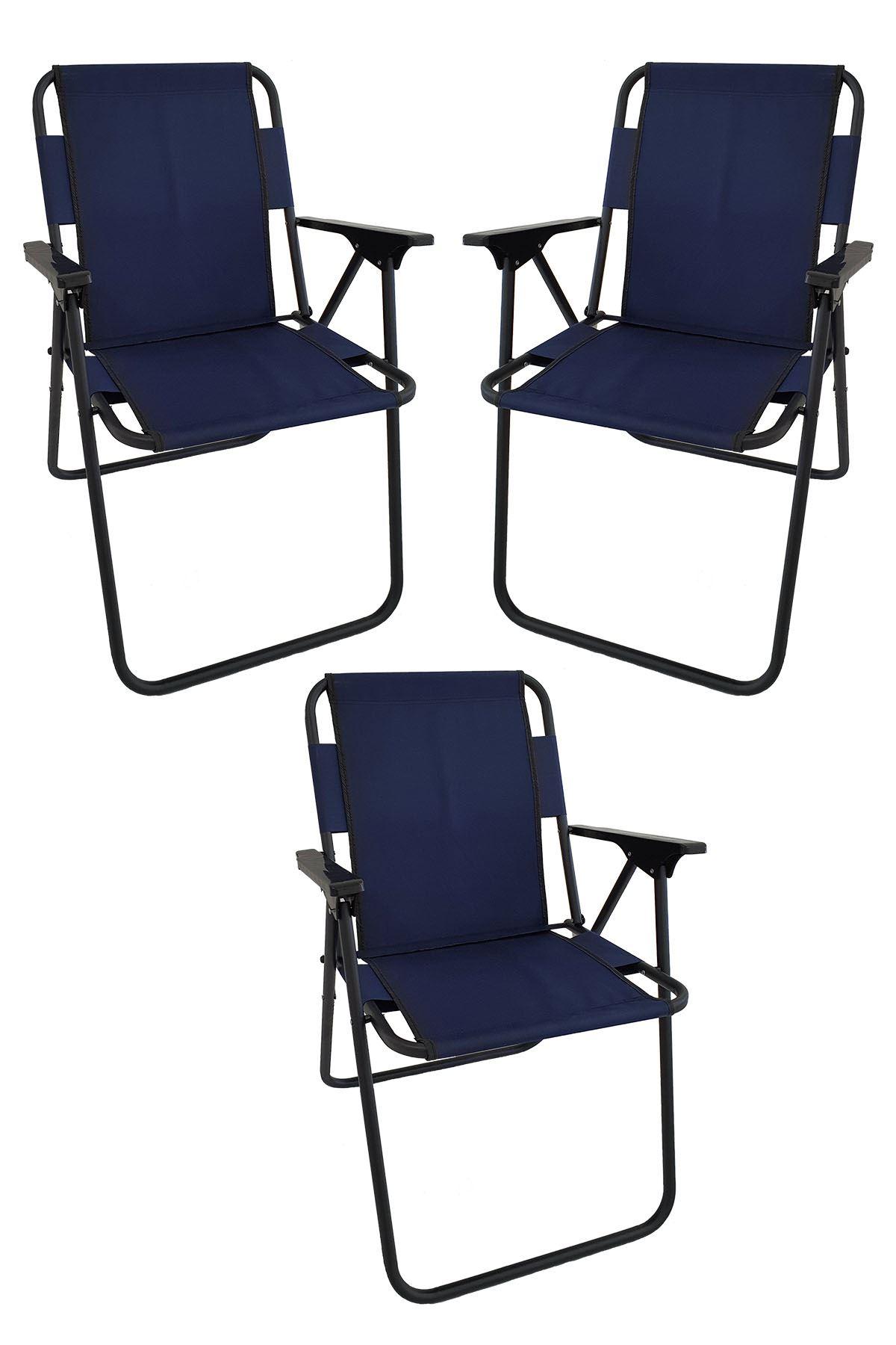 Bofigo 3 Pcs Camping Chair Folding Chair Picnic Chair Beach Chair Navy Blue
