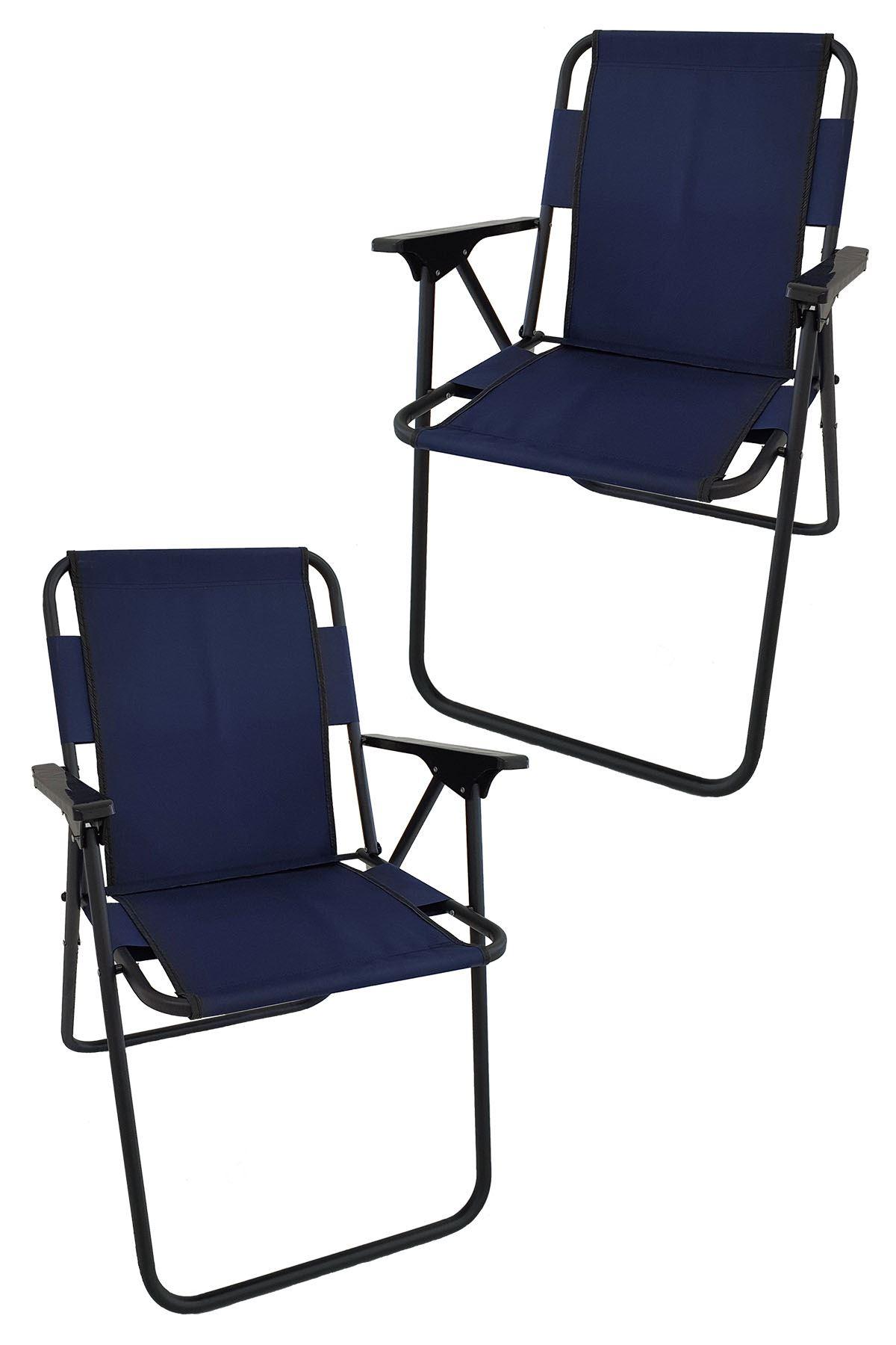 Bofigo 2 Pcs Camping Chair Folding Chair Picnic Chair Beach Chair Navy Blue