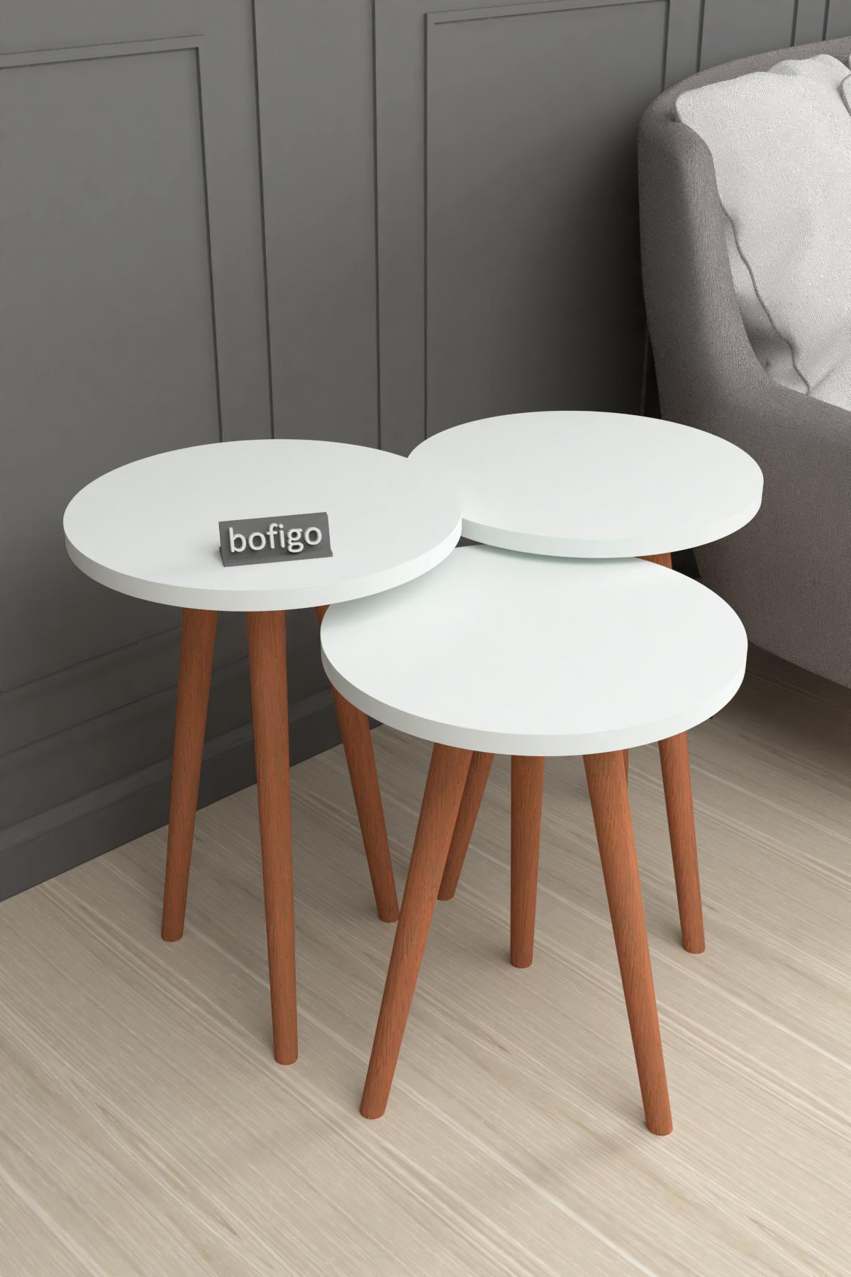 Bofigo Wooden Leg Nesting Table White