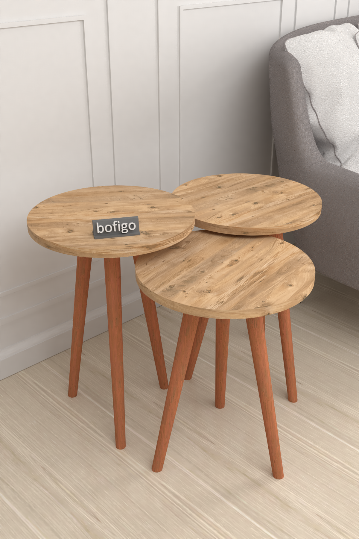 Bofigo Wooden Leg Nesting Table Pine