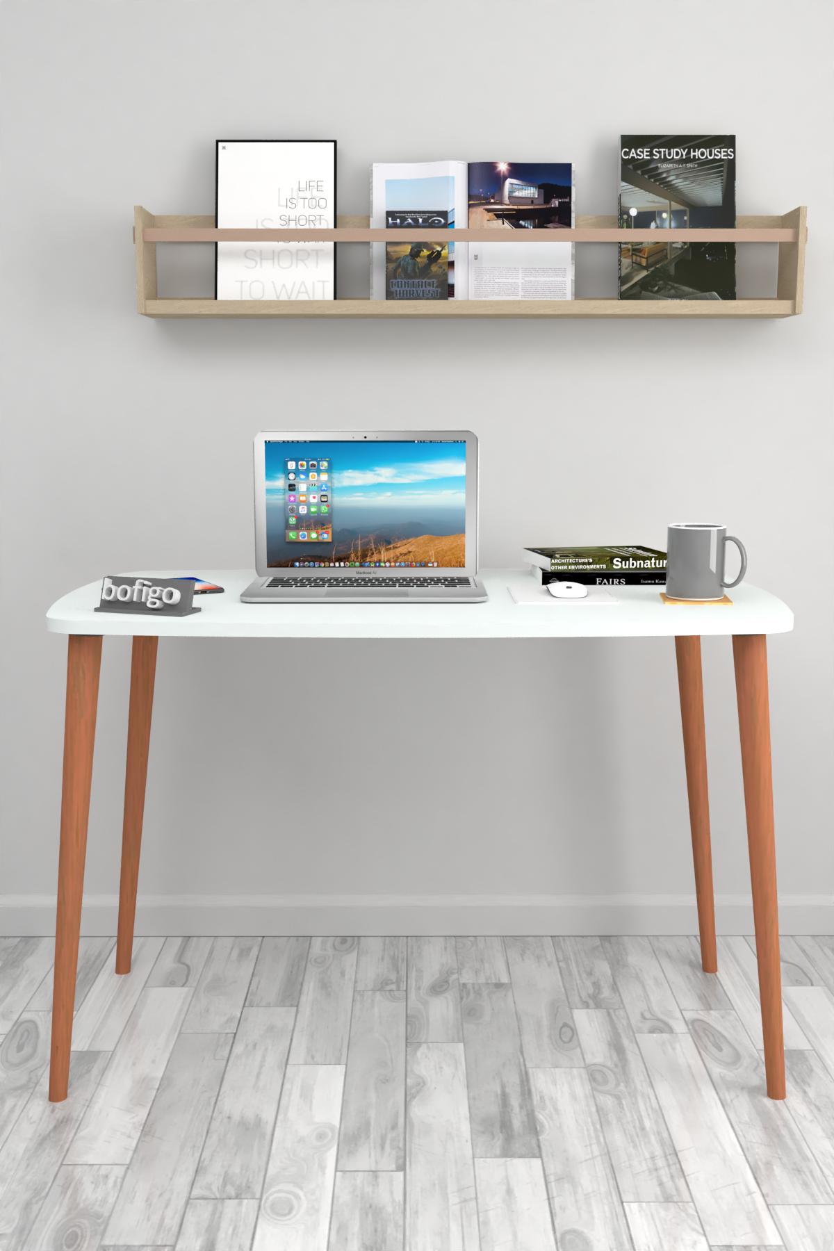 Bofigo Çalışma Masası 60x105 Cm Beyaz (Ahşap Ayaklı)