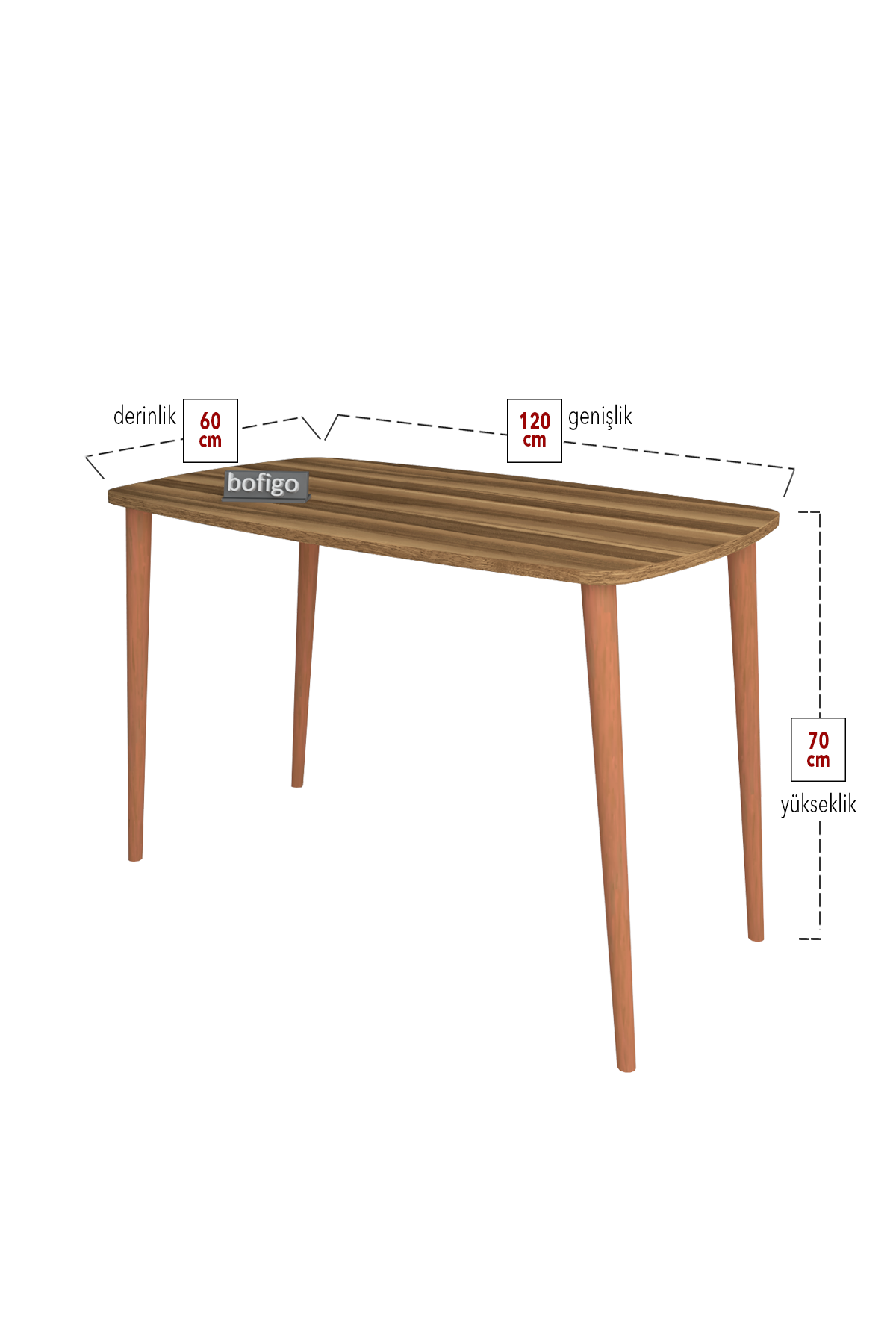 Bofigo Desk 60x105 Cm Walnut (Wooden Leg)