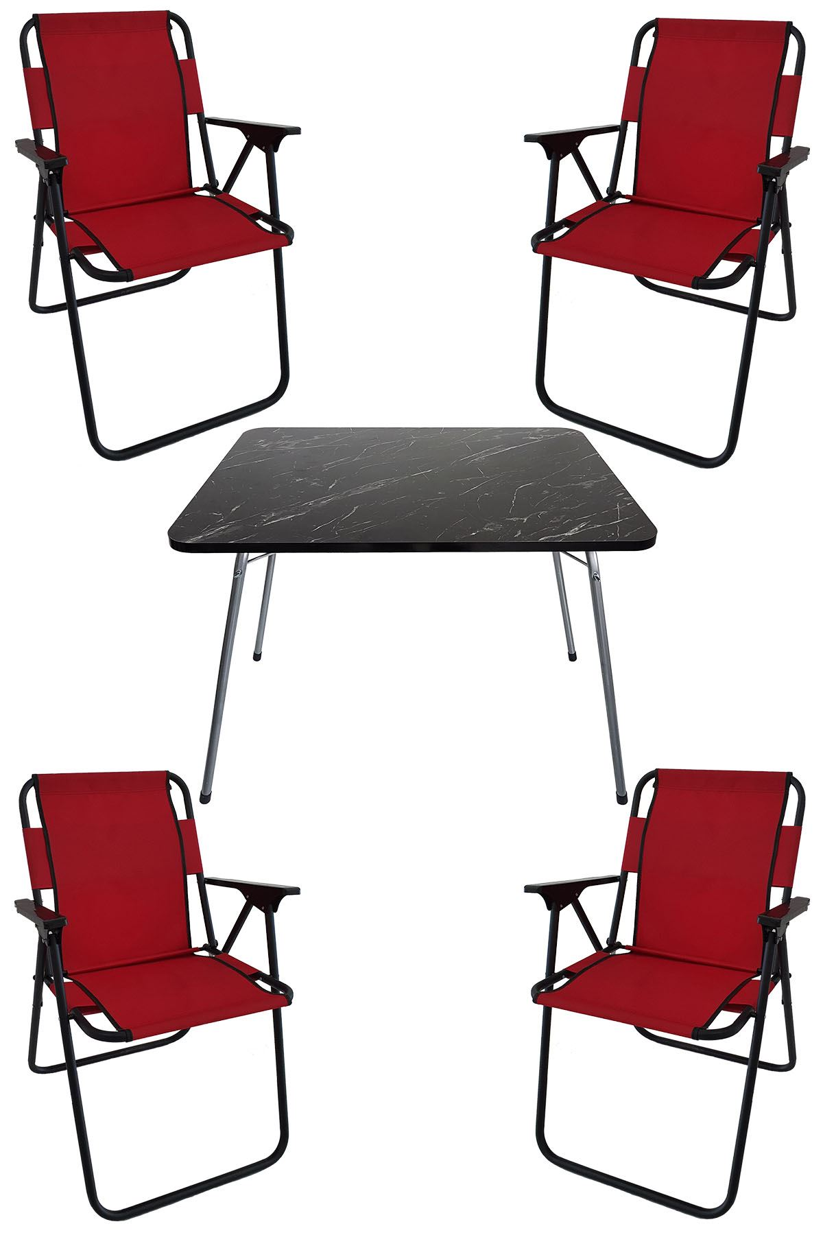Bofigo 60X80 Granite Patterned Folding Table + 4 Pieces Folding Chair Camping Set Garden Set Red