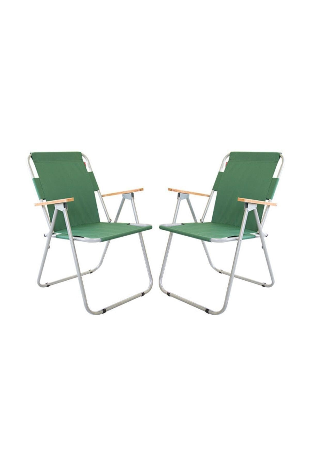 Bofigo 2 Pieces Folding Chair Camping Chair Balcony Chair Foldable Picnic and Garden Chair Green