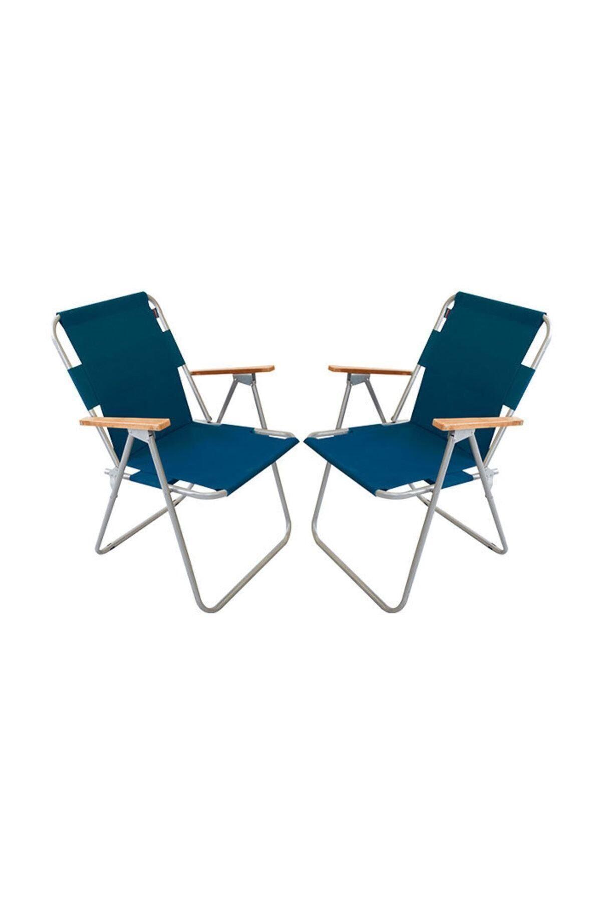 Bofigo 2 Adet Katlanır Sandalye Kamp Sandalyesi Balkon Sandalyesi Katlanabilir Piknik ve Bahçe Sandalyesi Mavi