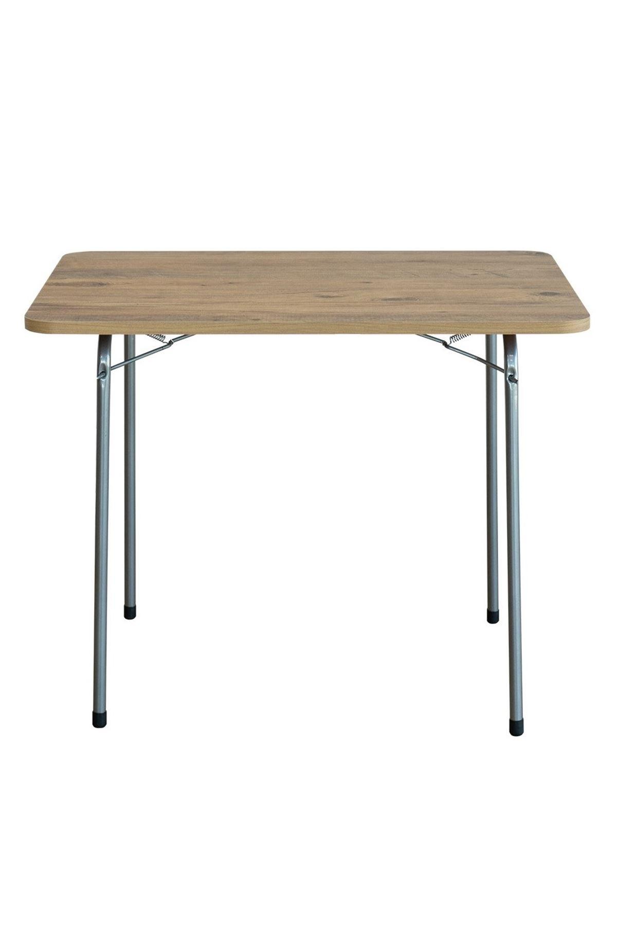 Bofigo 60X80 Pine Patterned Folding Table + 4 Pieces Folding Chair Camping Set Garden Set Navy Blue