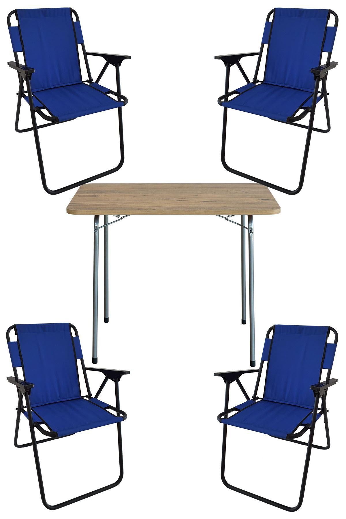 Bofigo 60X80 Pine Patterned Folding Table + 4 Pieces Folding Chair Camping Set Garden Set Blue