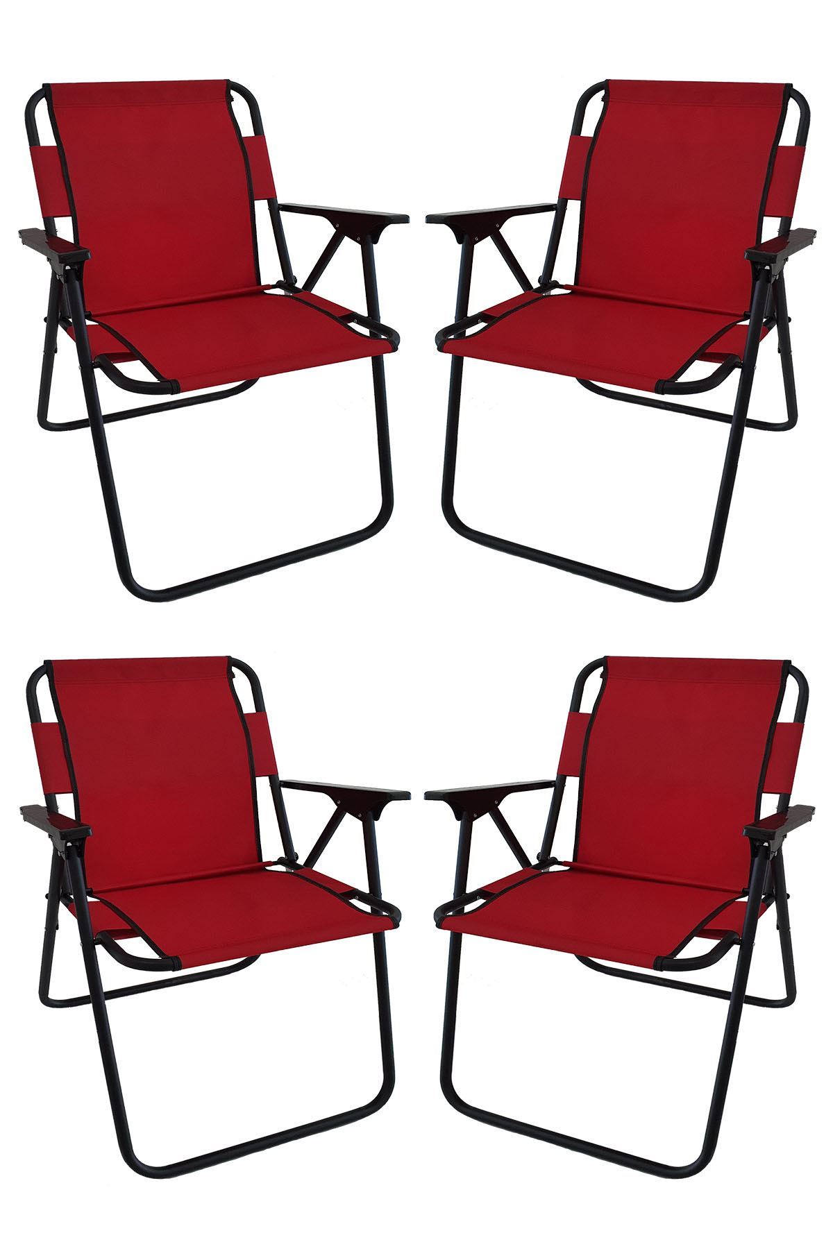 Bofigo 60X80 Pine Patterned Folding Table + 4 Pieces Folding Chair Camping Set Garden Set Red