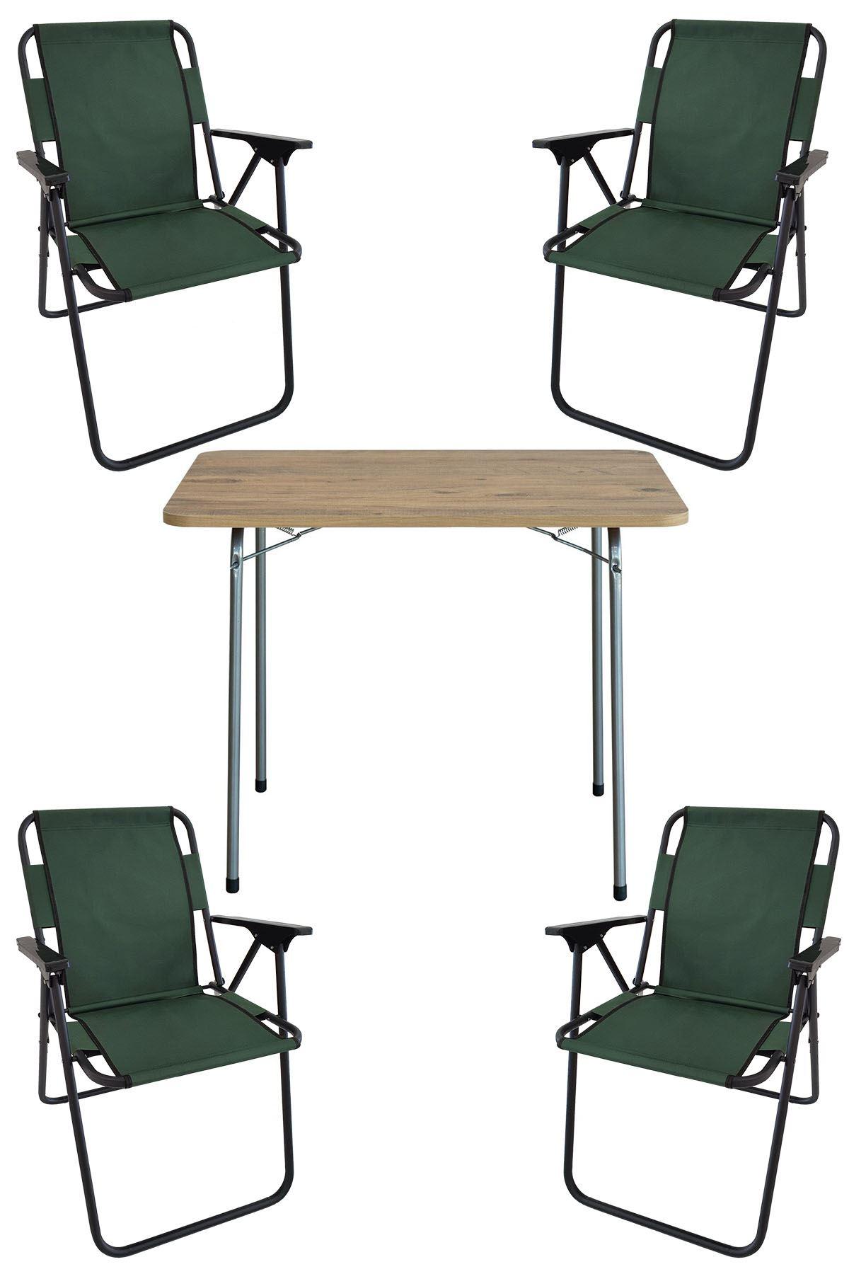 Bofigo 60X80 Pine Patterned Folding Table + 4 Pieces Folding Chair Camping Set Garden Set Green