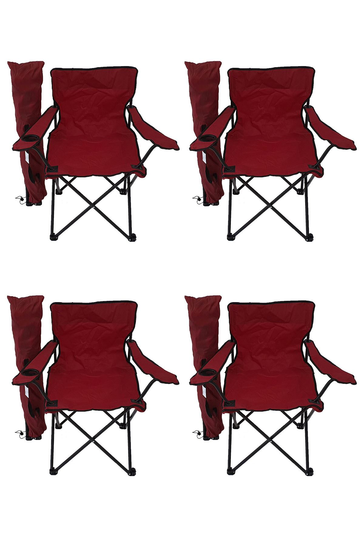 Bofigo 4 Pcs Camping Chair Picnic Chair Folding Chair Camping Chair with Carrying Bag Red