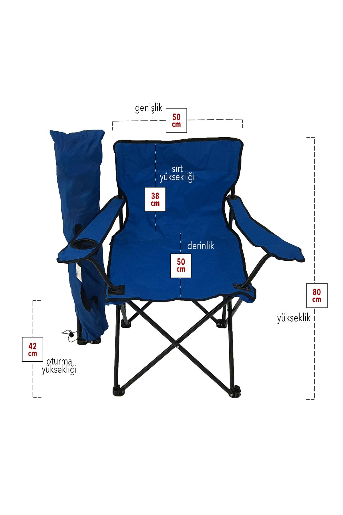 Bofigo 3-Seat Camping Chair Picnic Chair Folding Chair Camping Chair with Carrying Bag Blue