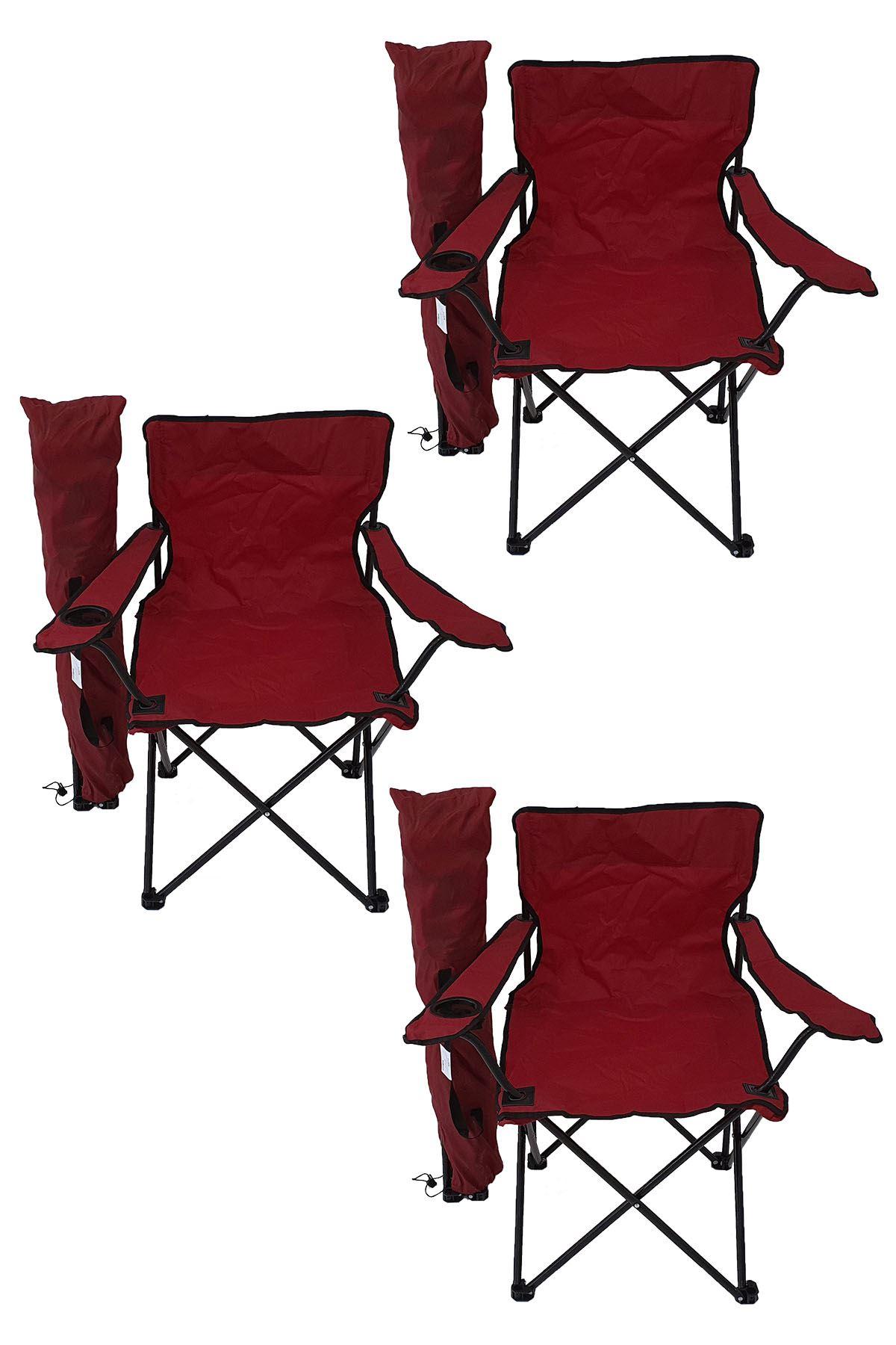 Bofigo 3'lü Kamp Sandalyesi Piknik Sandalyesi Katlanır Sandalye Taşıma Çantalı Kamp Sandalye Kırmızı