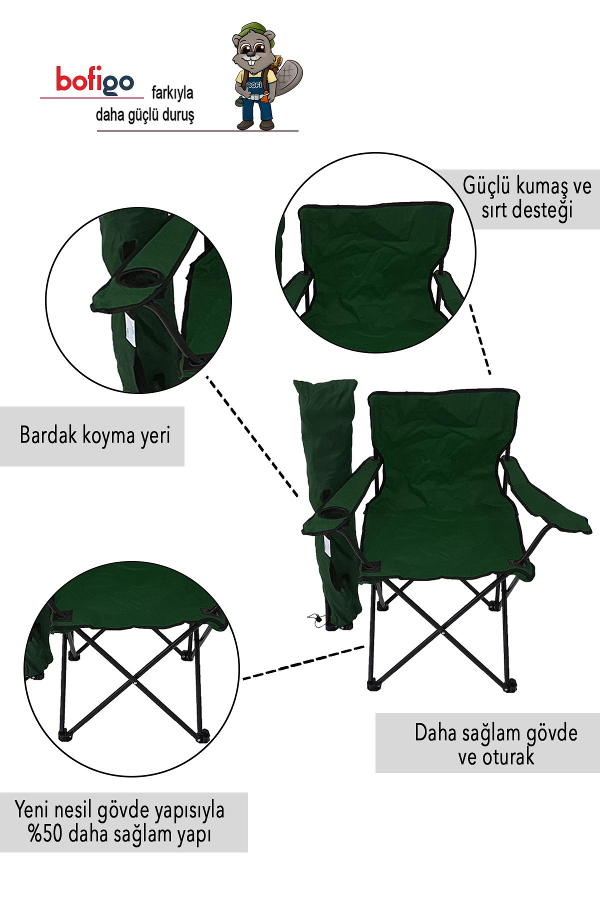Bofigo 3-Seat Camping Chair Picnic Chair Folding Chair Camping Chair with Carrying Bag Green