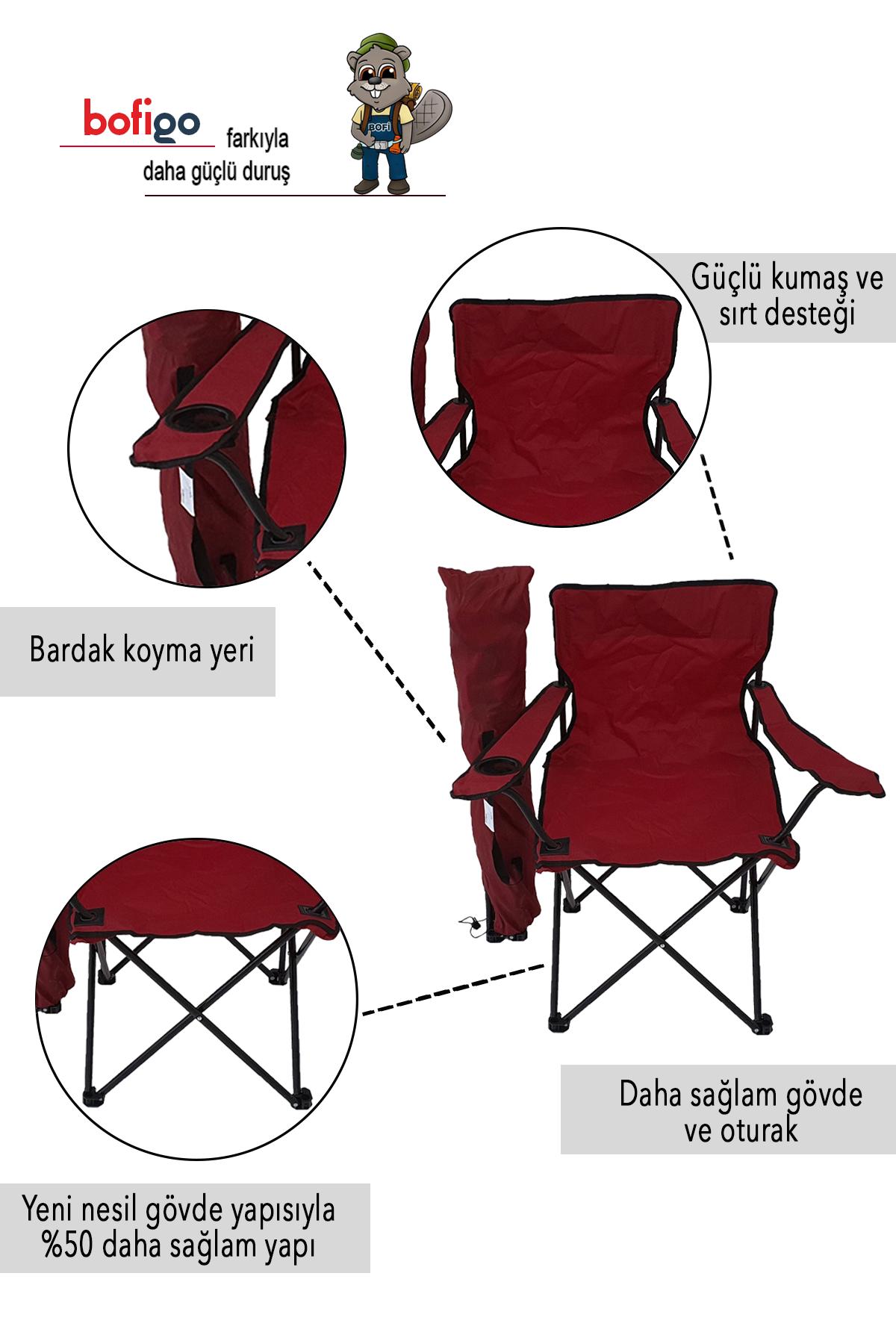 Bofigo 2'li Kamp Sandalyesi Piknik Sandalyesi Katlanır Sandalye Taşıma Çantalı Kamp Sandalyesi Kırmızı