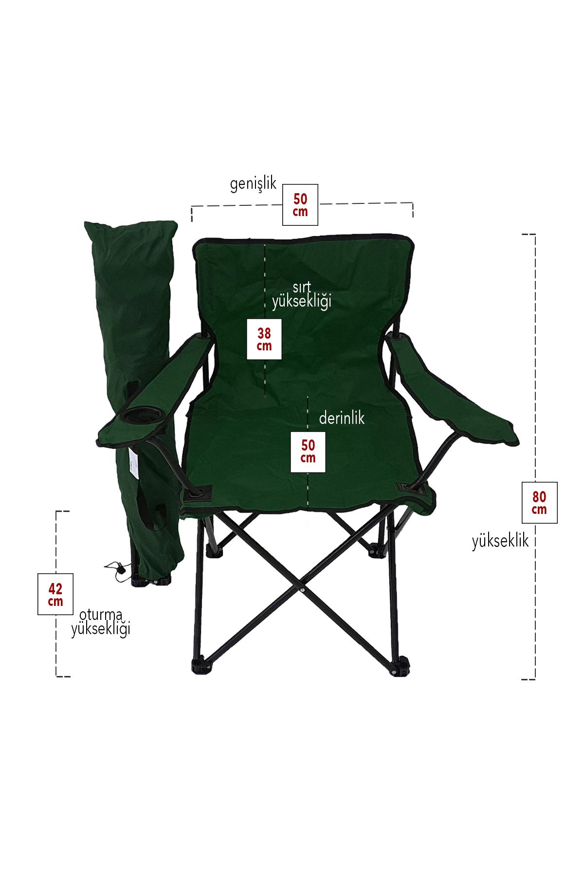 Bofigo 2'li Kamp Sandalyesi Piknik Sandalyesi Katlanır Sandalye Taşıma Çantalı Kamp Sandalyesi Yeşil