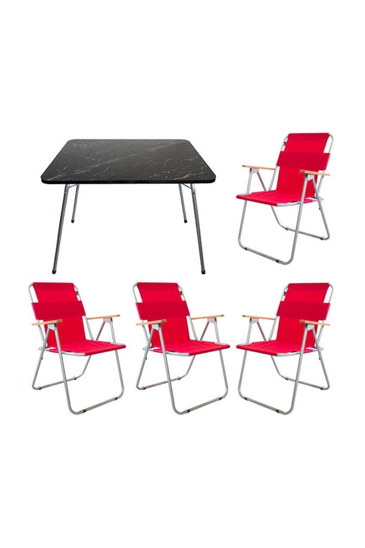 Bofigo 60x80 Granit Katlanır Masa + 4 Adet Katlanır Sandalye Kamp Seti Bahçe Balkon Takımı Kırmızı