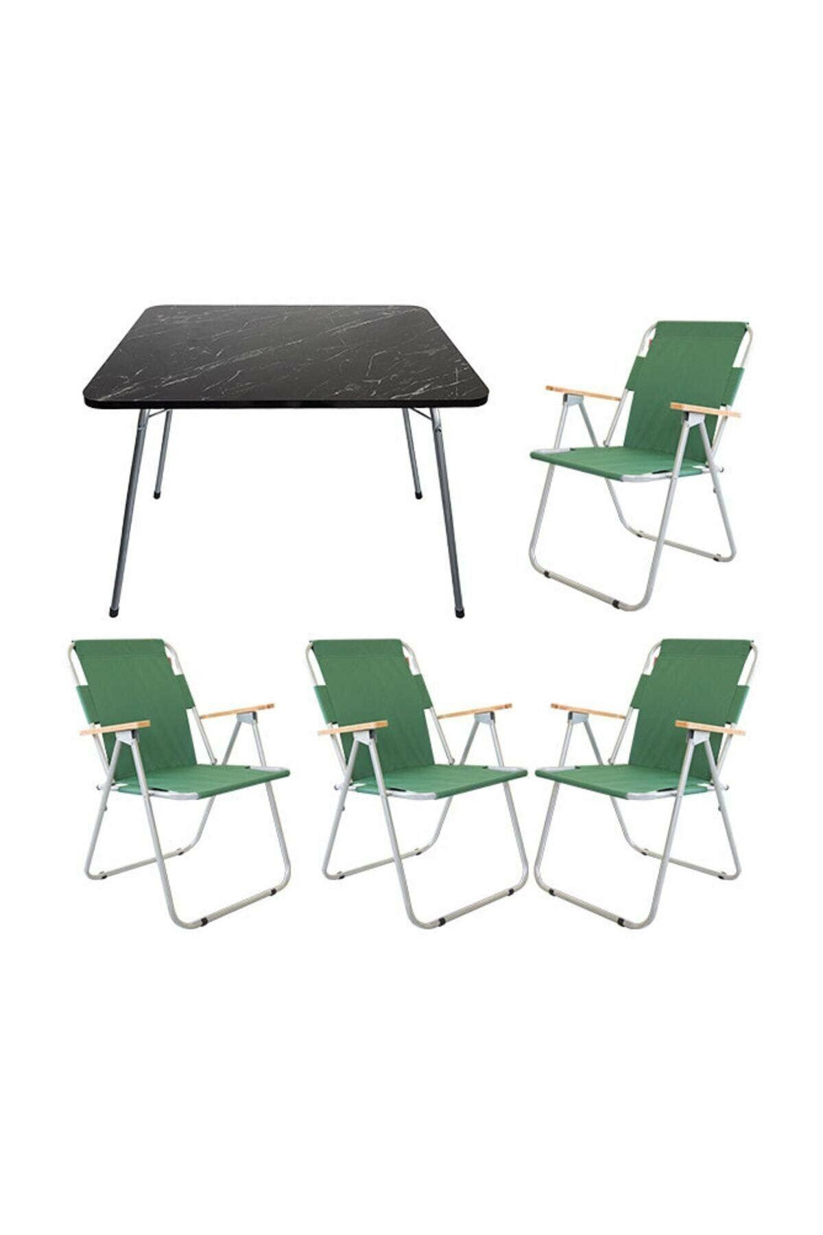 Bofigo 60x80 Granite Folding Table + 4 Pieces Folding Chair Camping Set Garden Balcony Set Green