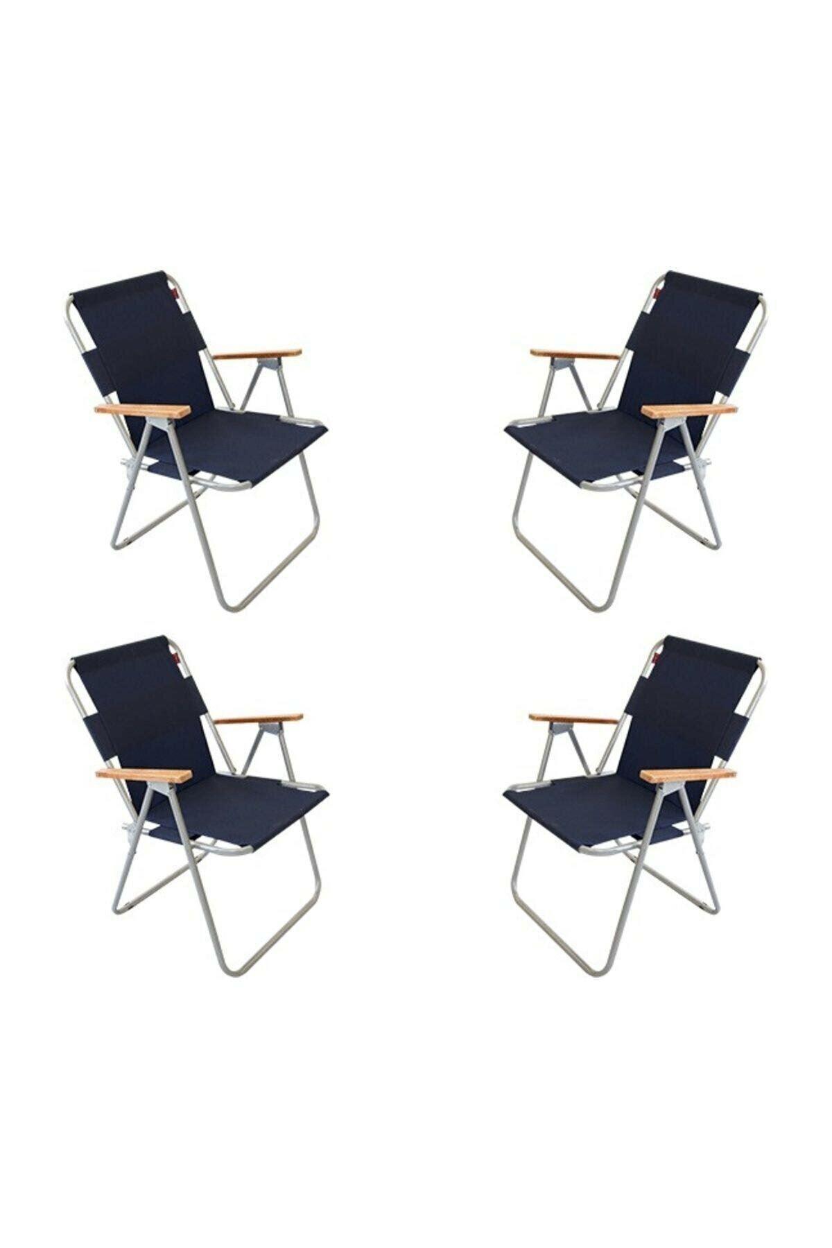 Bofigo 60x80 Çam Katlanır Masa + 4 Adet Katlanır Sandalye Kamp Seti Bahçe Balkon Takımı Lacivert