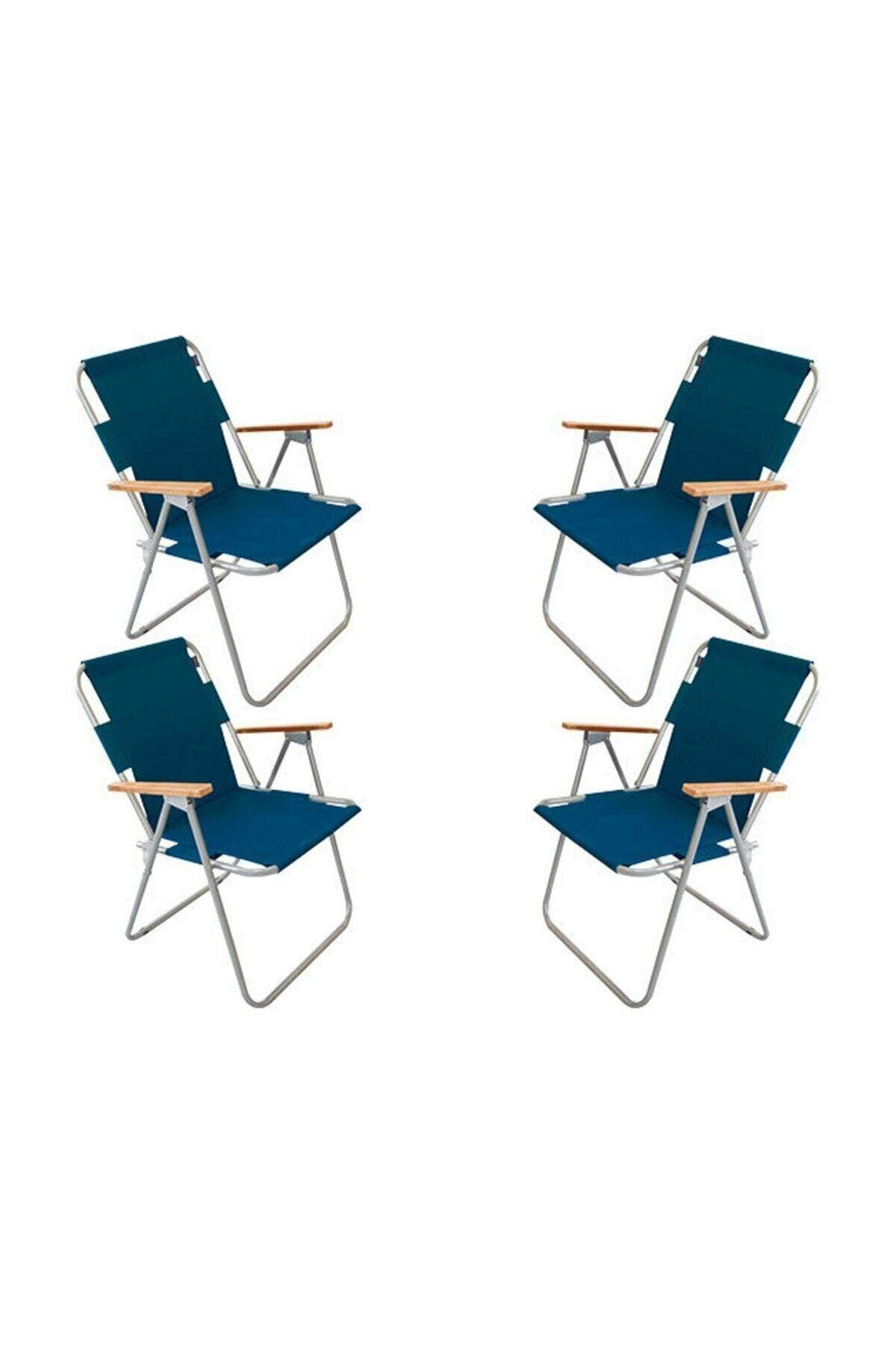 Bofigo 60x80 Pine Folding Table + 4 Pieces Folding Chair Camping Set Garden Balcony Set Blue