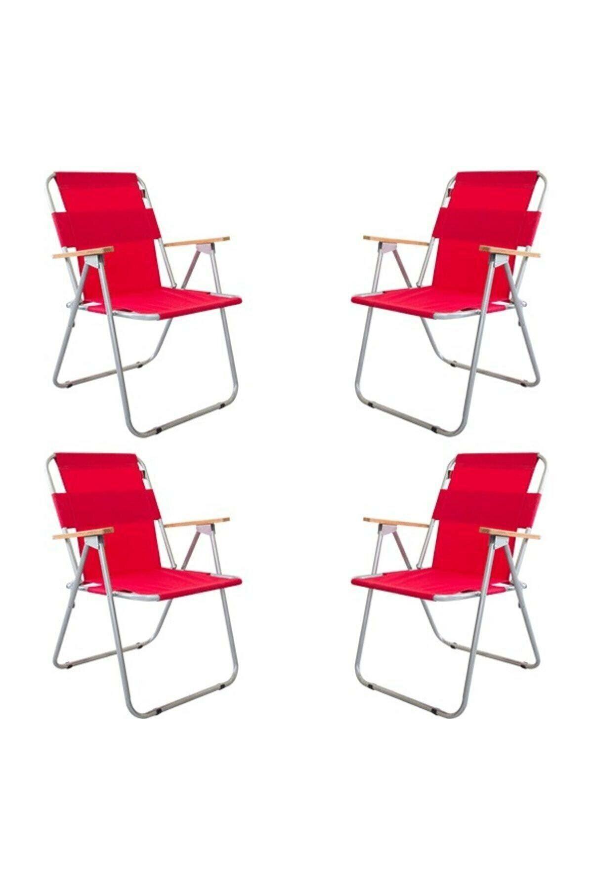 Bofigo 60x80 Çam Katlanır Masa + 4 Adet Katlanır Sandalye Kamp Seti Bahçe Balkon Takımı Kırmızı