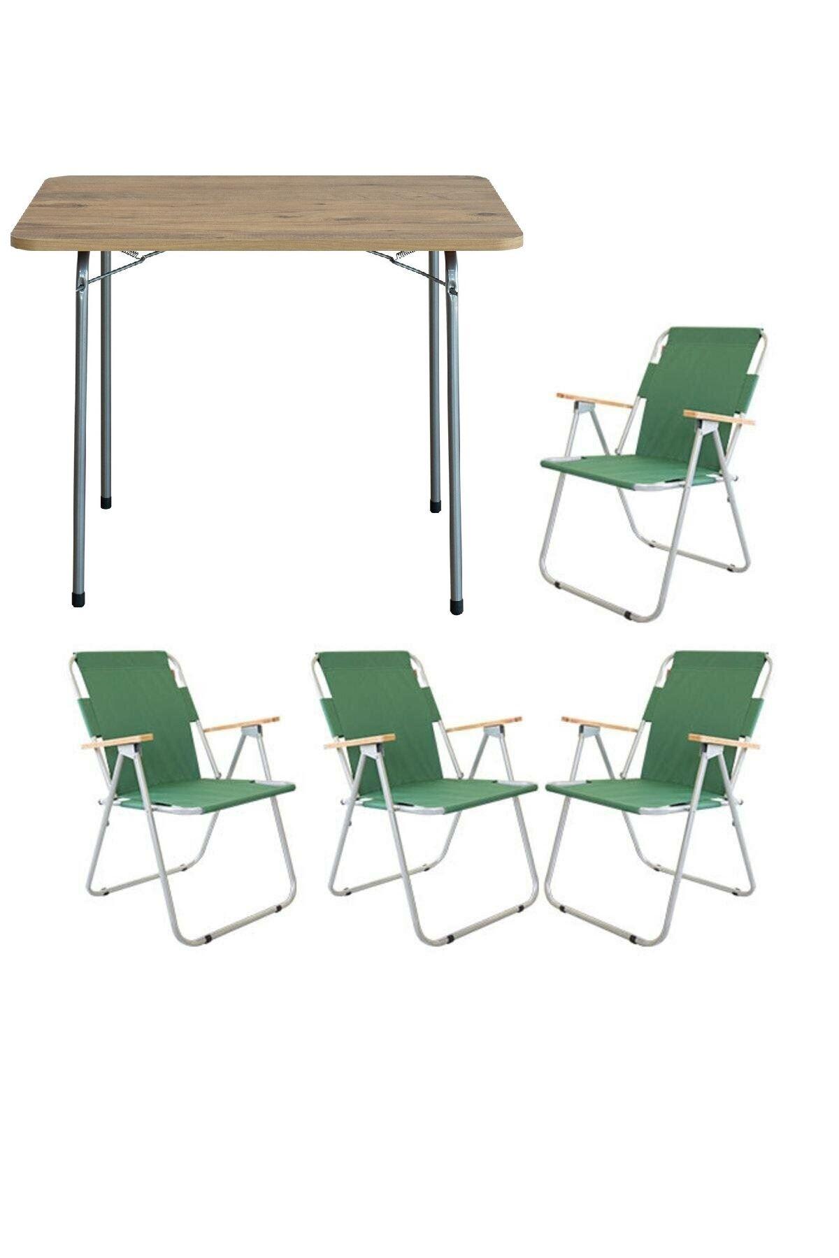 Bofigo 60x80 Çam Katlanır Masa + 4 Adet Katlanır Sandalye Kamp Seti Bahçe Balkon Takımı Yeşil