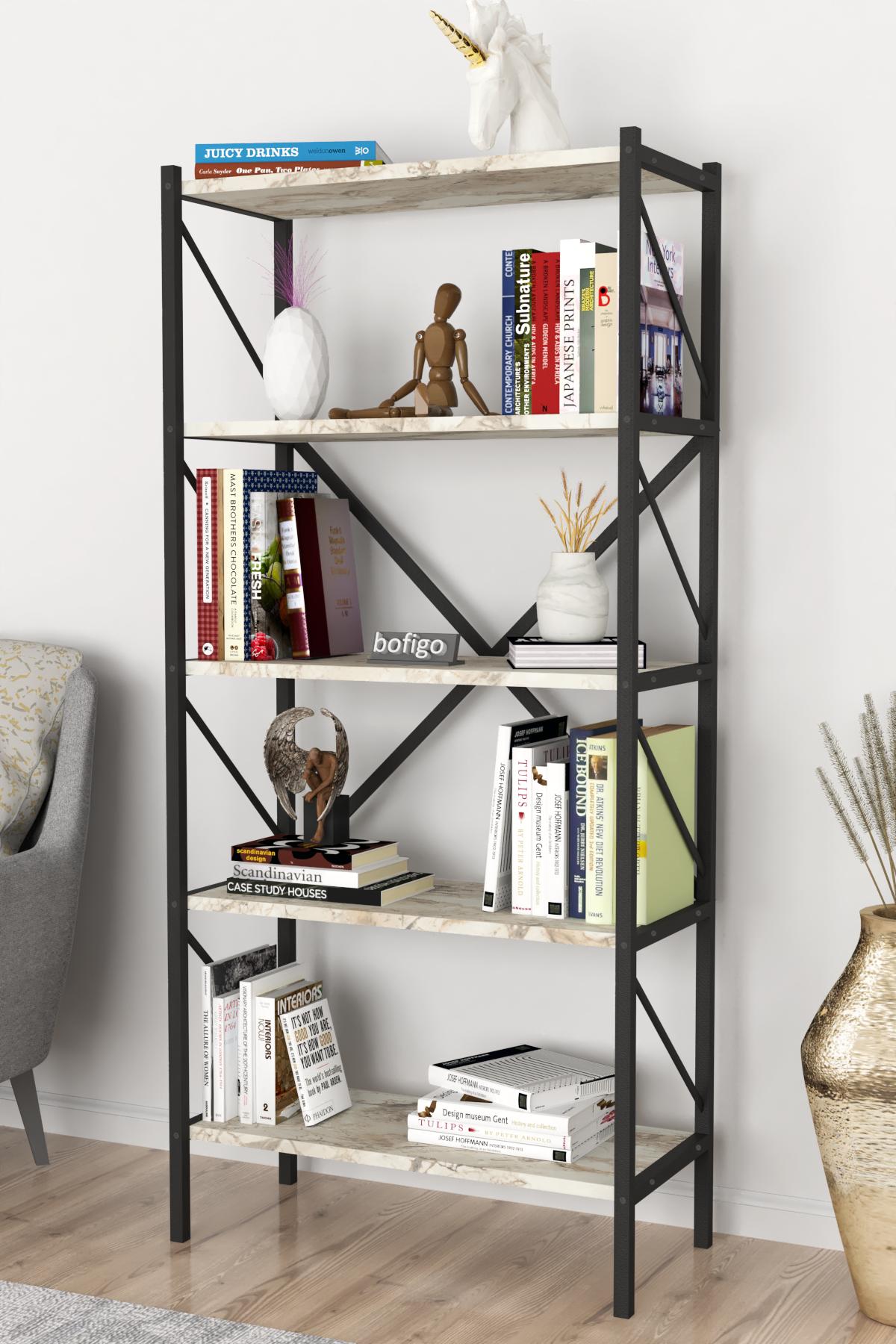 Bofigo Decorative 5 Shelf Bookcase Metal Bookcase Efes