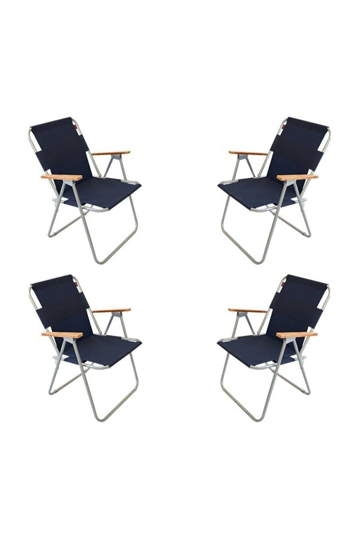 Bofigo 4 Pieces Folding Chair Camping Chair Balcony Chair Foldable Picnic and Garden Chair Navy Blue