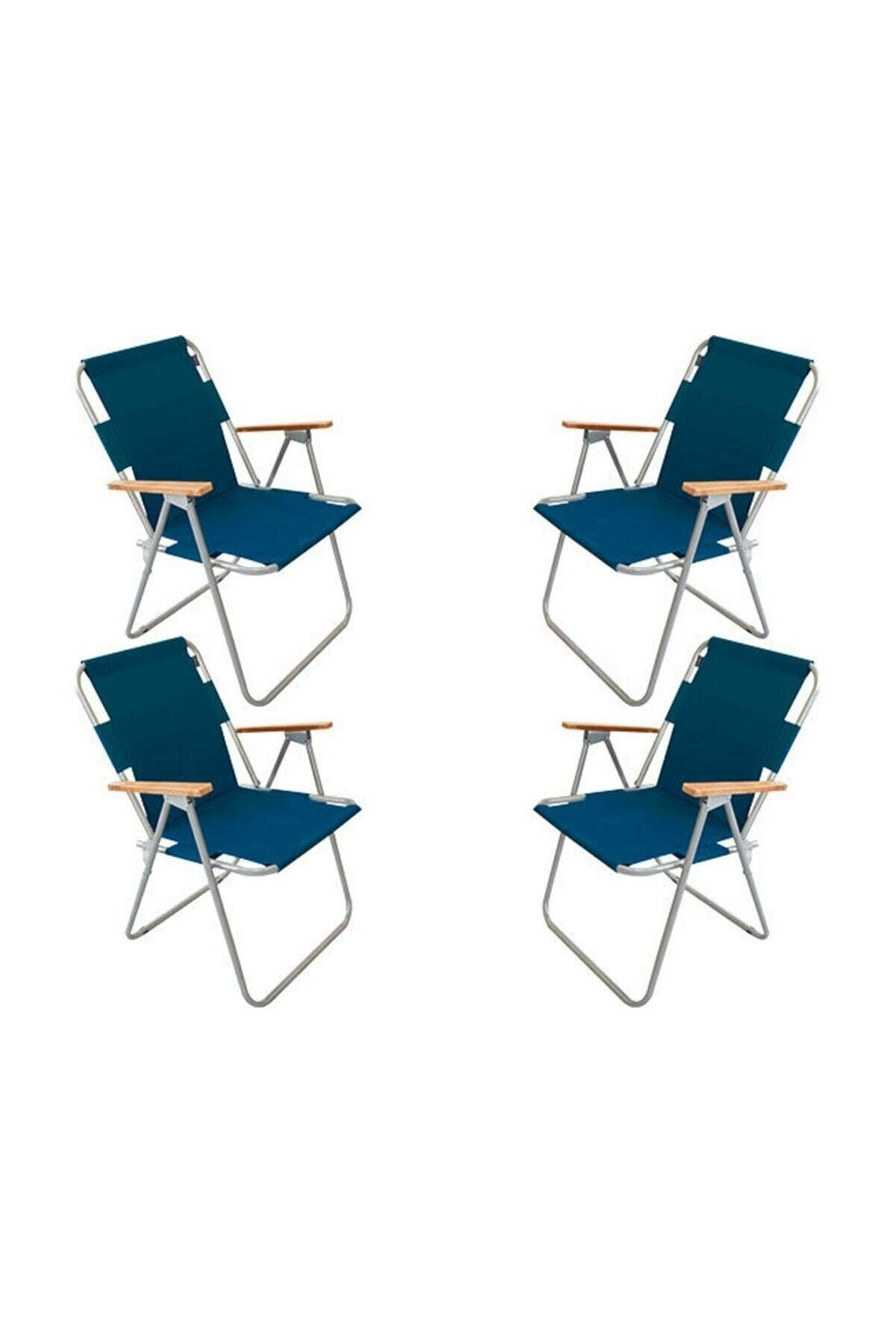 Bofigo 4 Pieces Folding Chair Camping Chair Balcony Chair Foldable Picnic and Garden Chair Blue