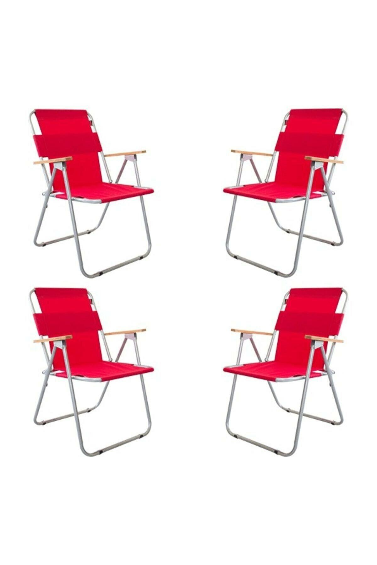 Bofigo 4 Pieces Folding Chair Camping Chair Balcony Chair Foldable Picnic and Garden Chair Red