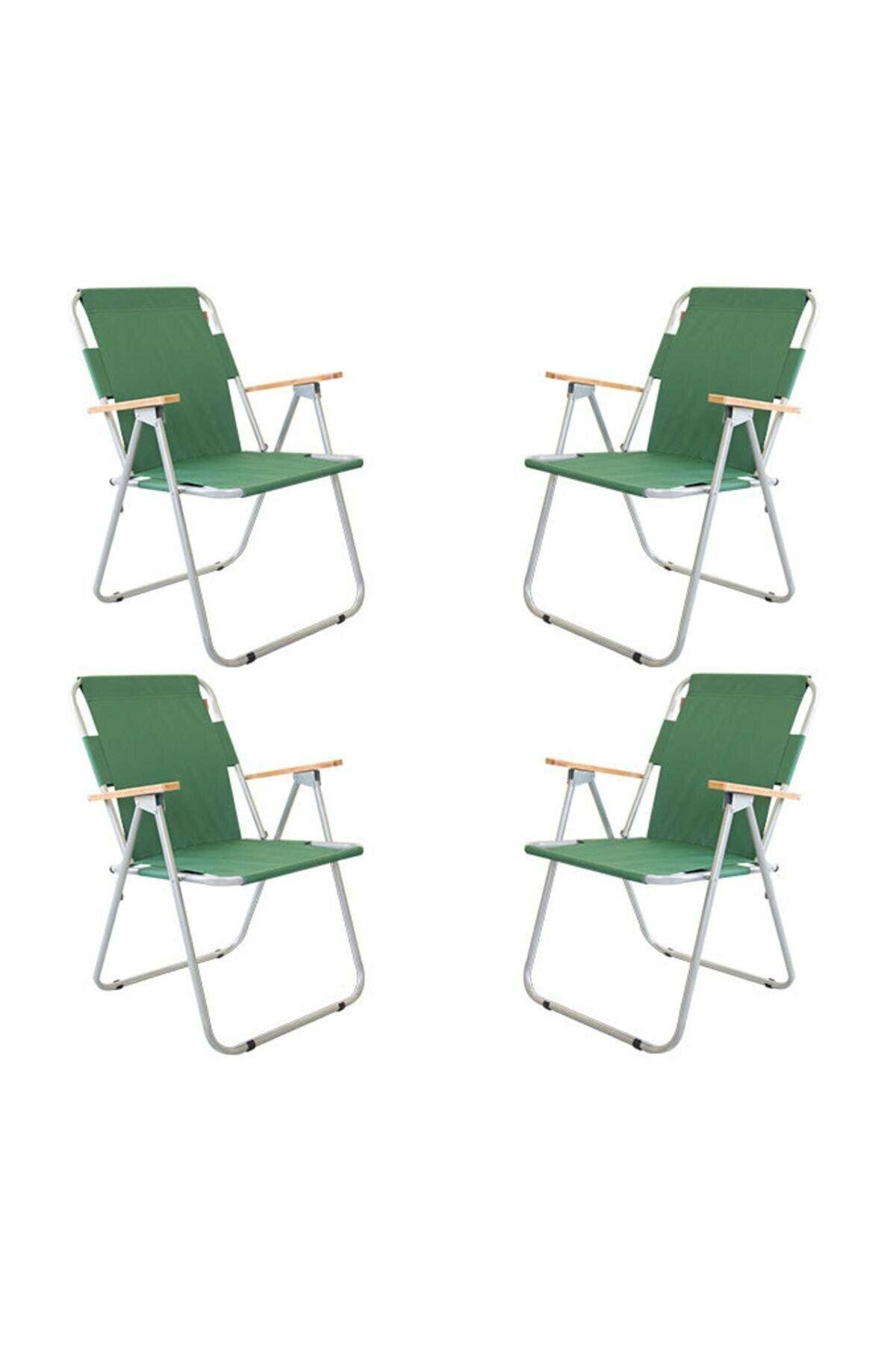 Bofigo 4 Adet Katlanır Sandalye Kamp Sandalyesi Balkon Sandalyesi Katlanabilir Piknik ve Bahçe Sandalyesi Yeşil