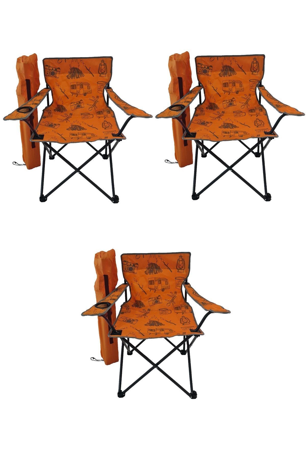 Bofigo 3 Adet Kamp Sandalyesi Katlanır Sandalye Bahçe Koltuğu Piknik Plaj Sandalyesi Desenli Turuncu
