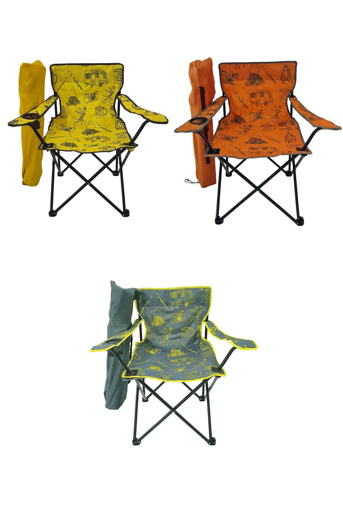 Bofigo 3 Adet Kamp Sandalyesi Katlanır Sandalye Bahçe Koltuğu Piknik Plaj Sandalyesi Desenli Karma